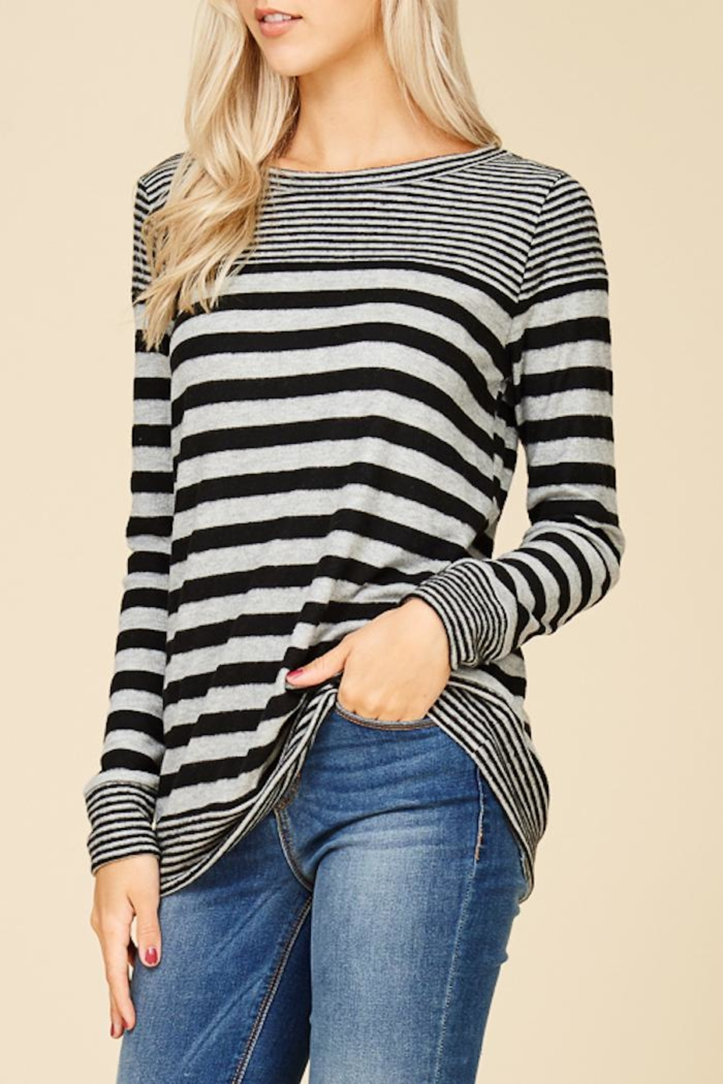 Staccato Fuzzy Striped Top - Back Cropped Image