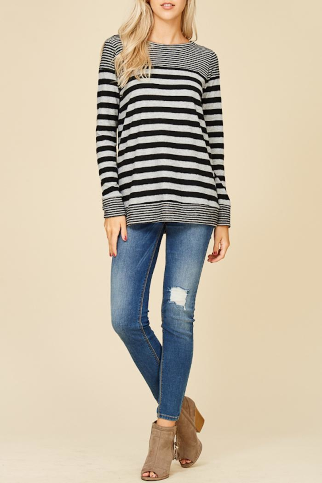 Staccato Fuzzy Striped Top - Main Image