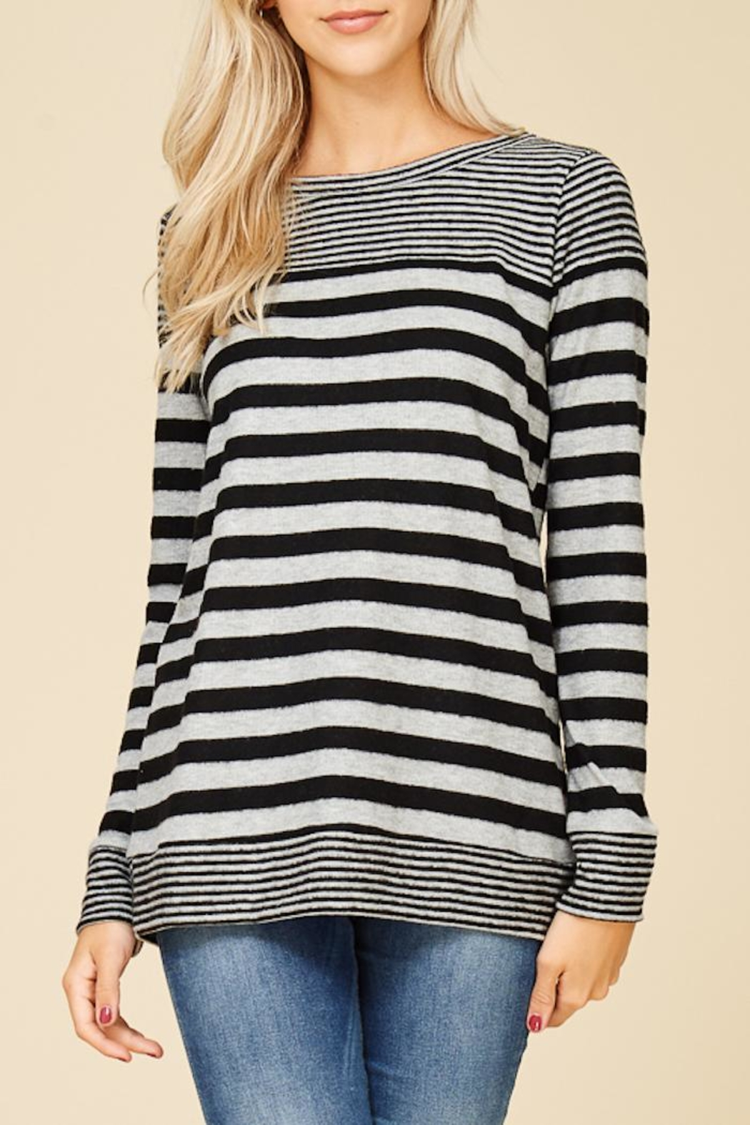 Staccato Fuzzy Striped Top - Front Full Image