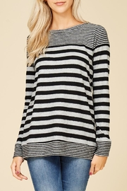 Staccato Fuzzy Striped Top - Front full body