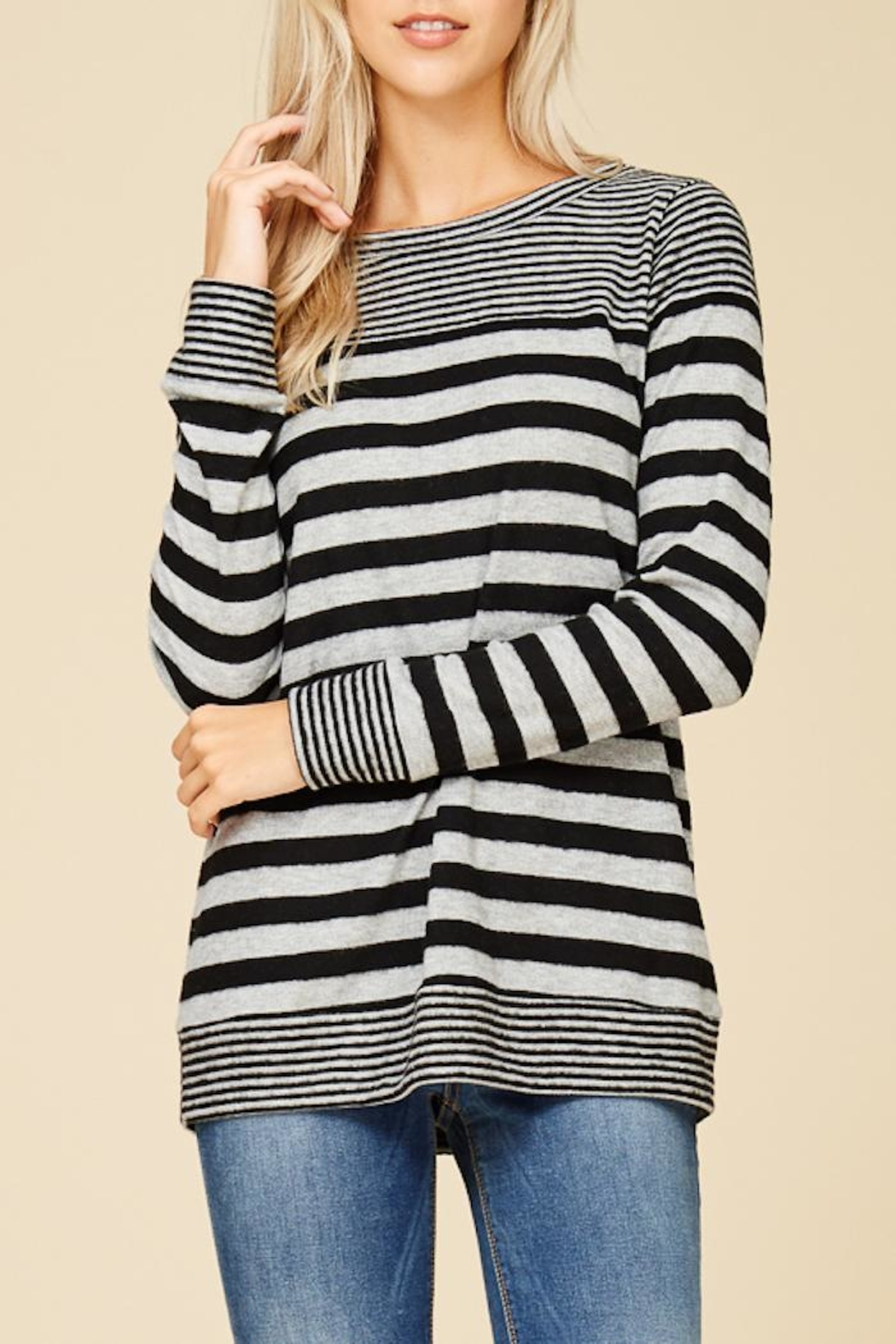 Staccato Fuzzy Striped Top - Side Cropped Image