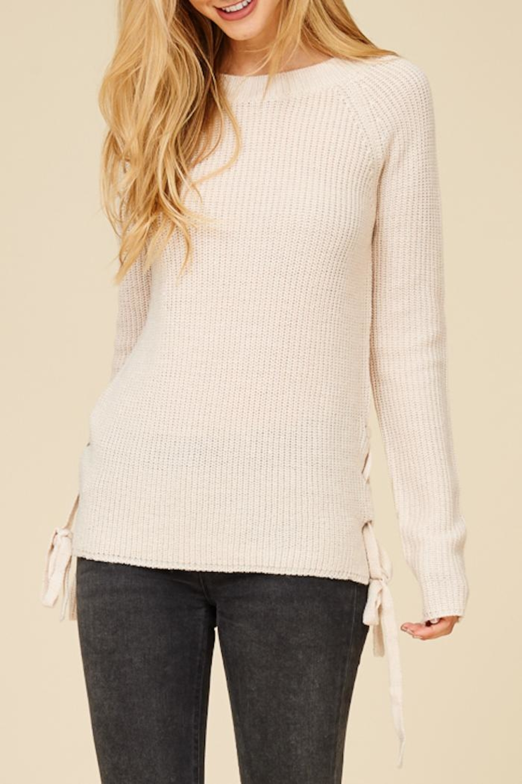 Staccato Lace Me Up Sweater - Side Cropped Image