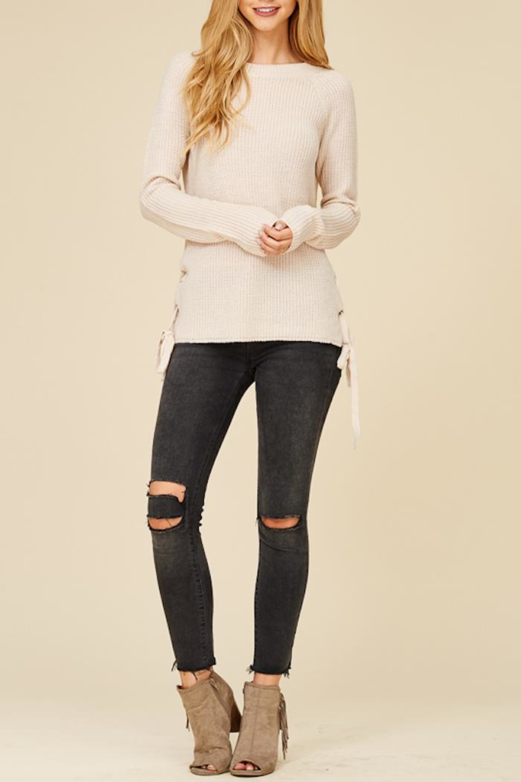 Staccato Lace Me Up Sweater - Front Full Image