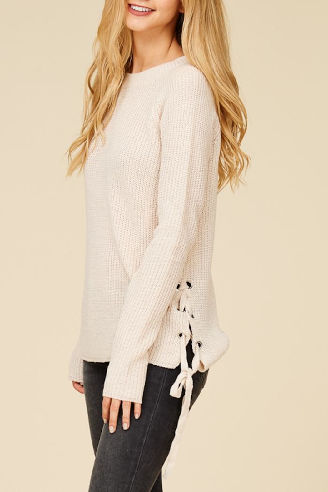 Staccato Lace Me Up Sweater - Back Cropped Image