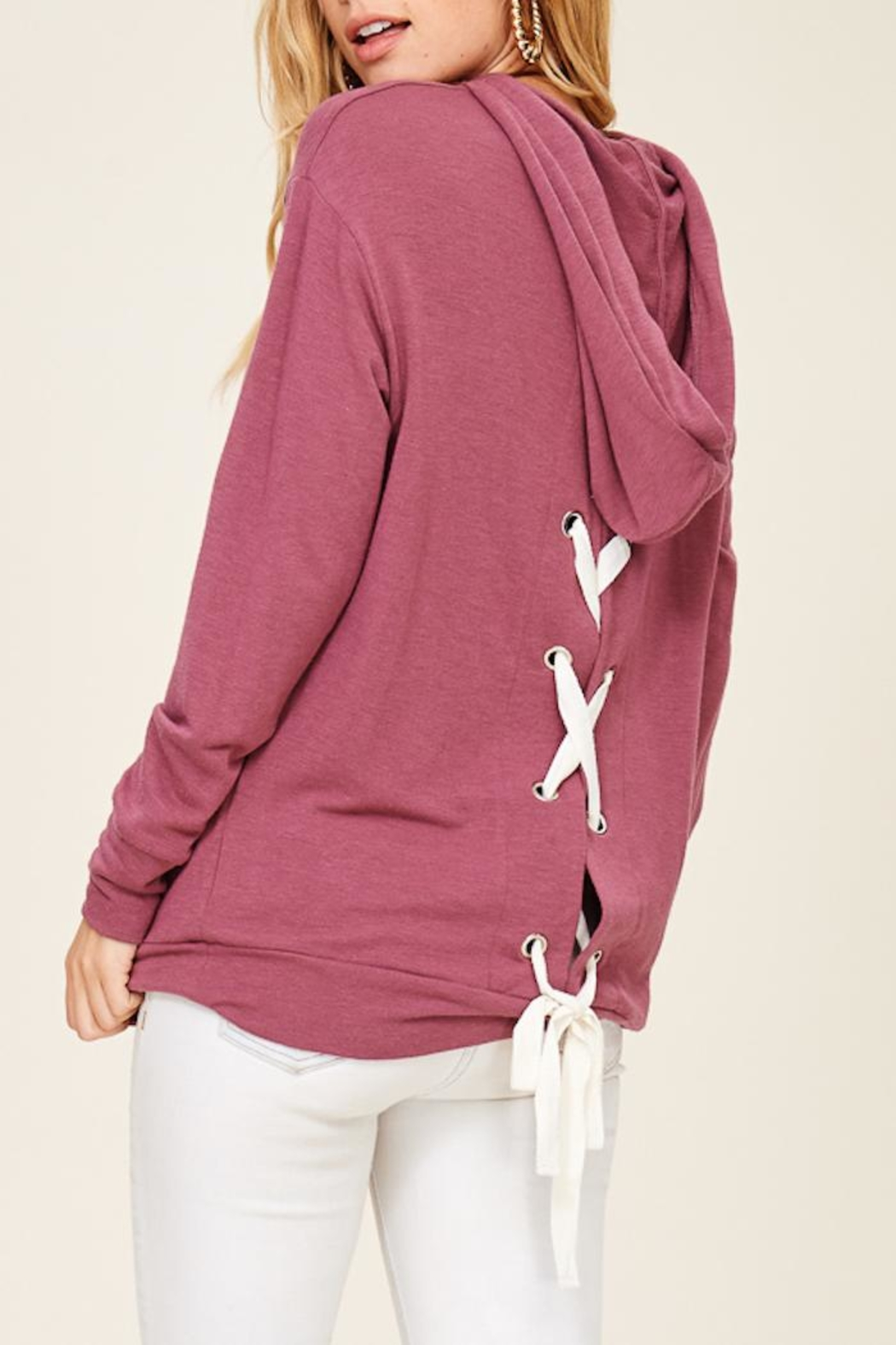 Staccato Lace Up Hoodie - Back Cropped Image