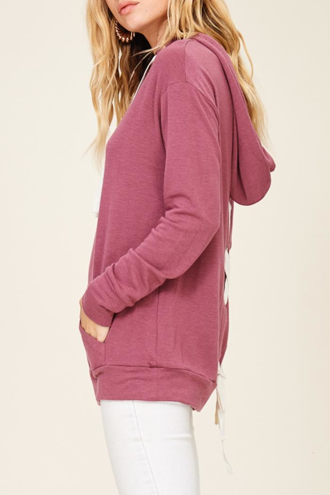 Staccato Lace Up Hoodie - Side Cropped Image
