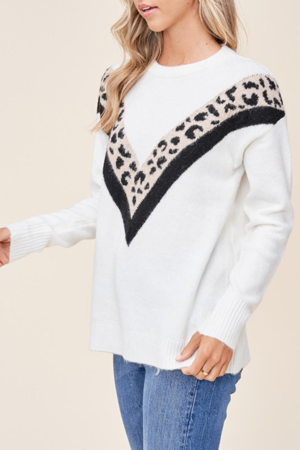 Staccato Leopard Varsity Sweater - Side Cropped Image