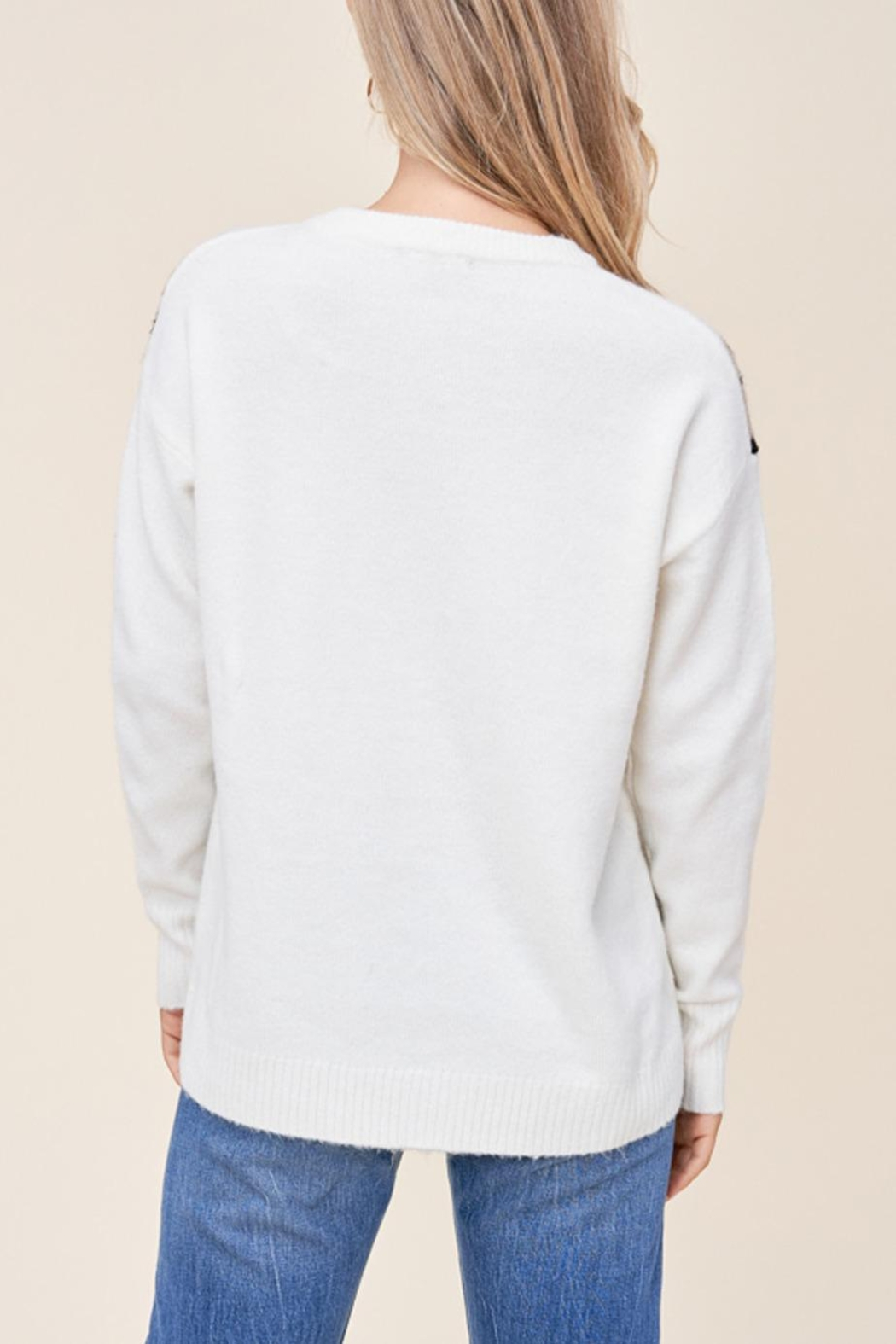 Staccato Leopard Varsity Sweater - Back Cropped Image