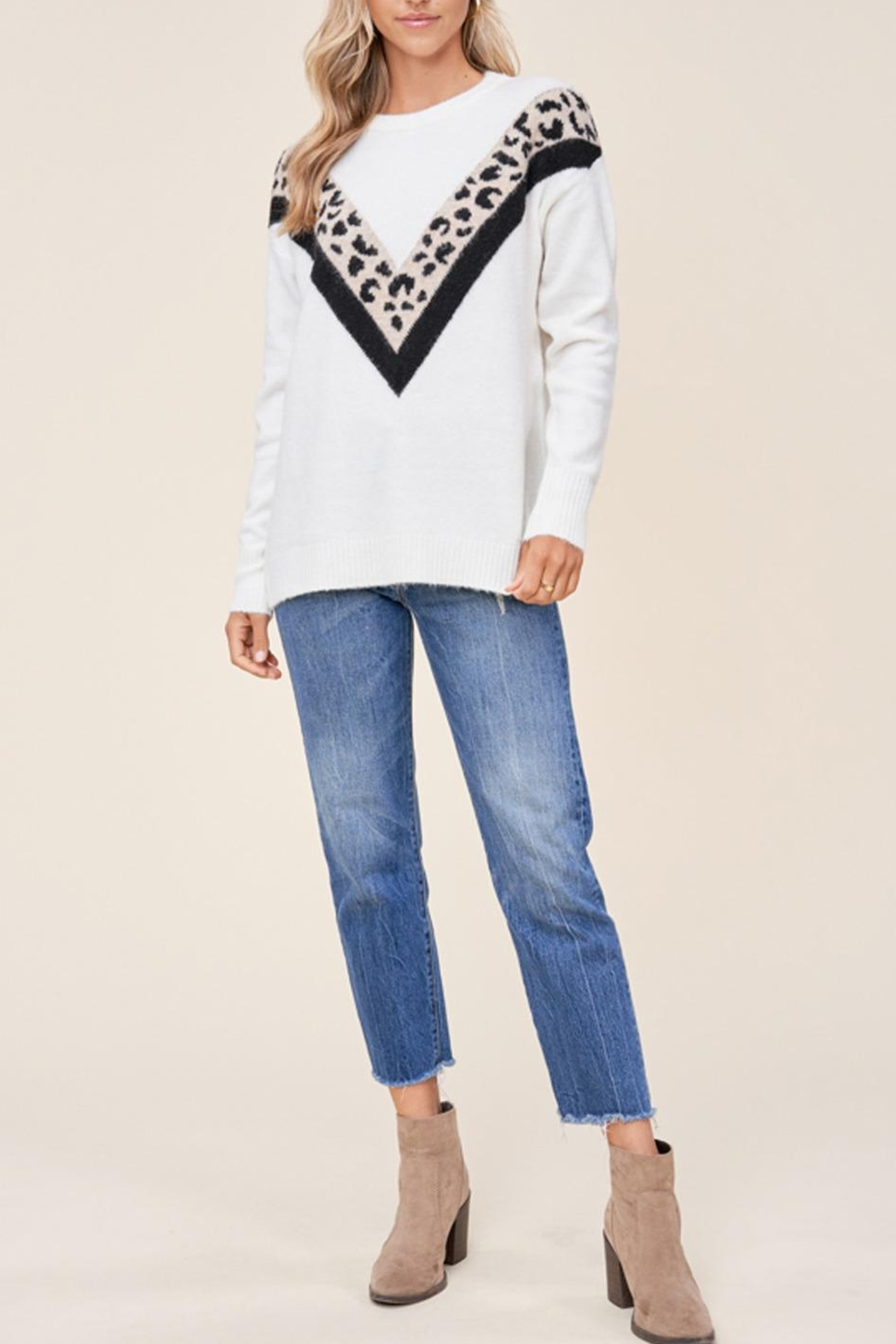 Staccato Leopard Varsity Sweater - Front Full Image