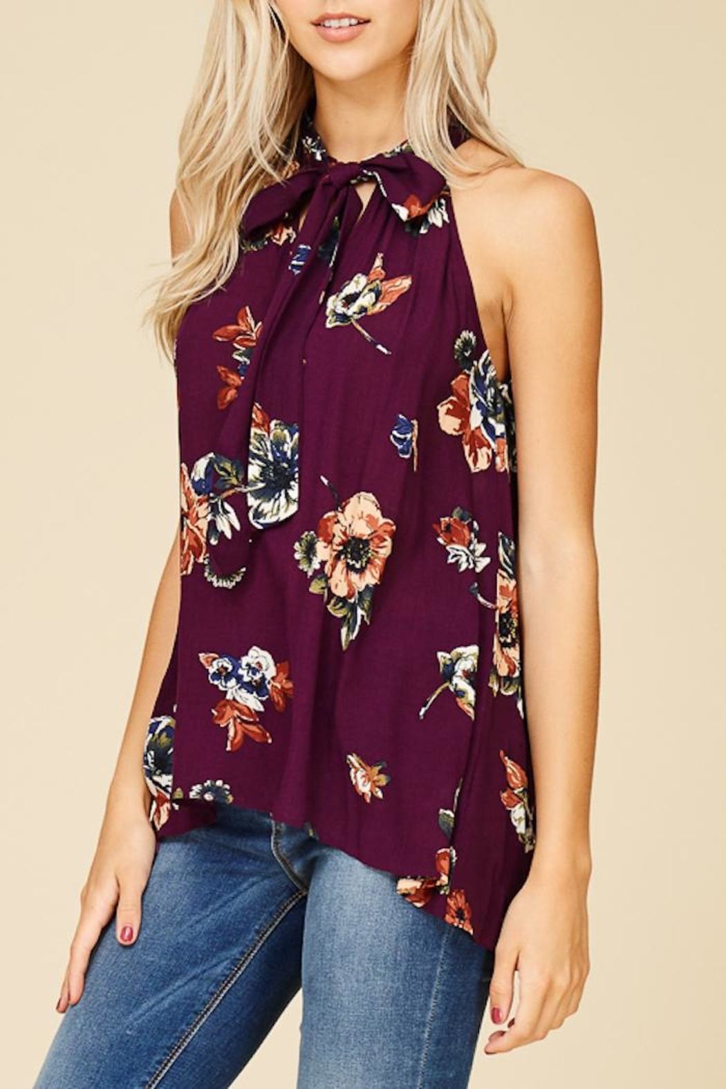 Staccato Magnolia Blooms Top - Back Cropped Image