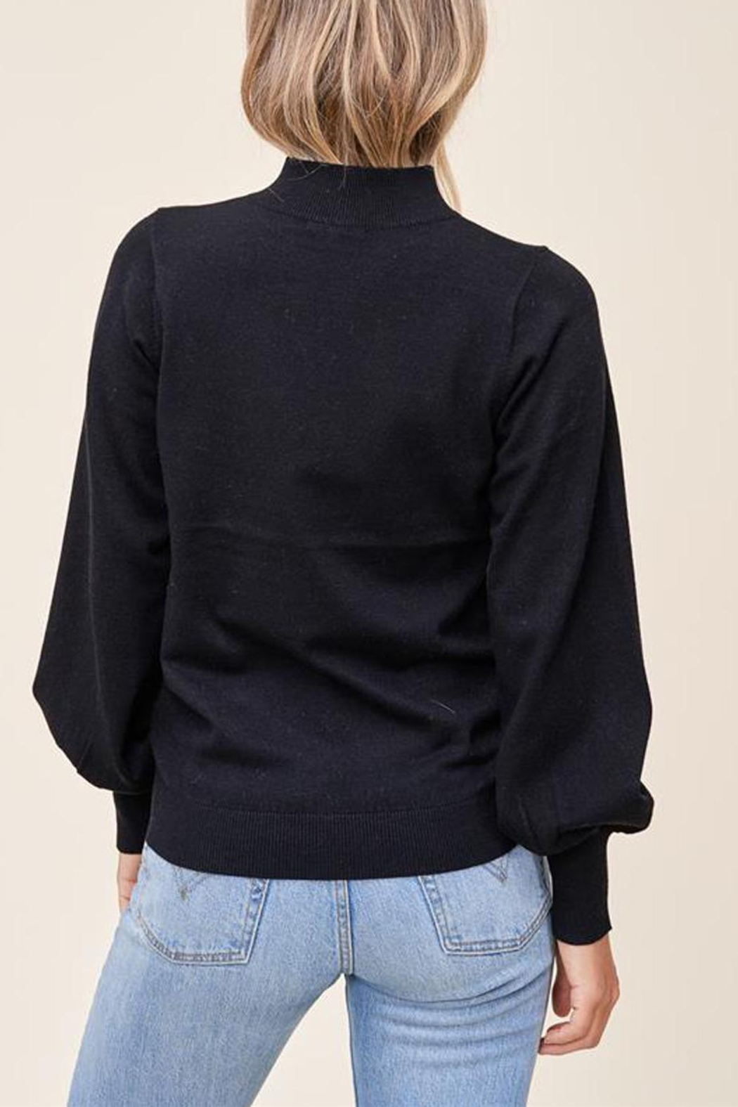 Staccato Mock Balloon-Sleeve Sweater - Side Cropped Image