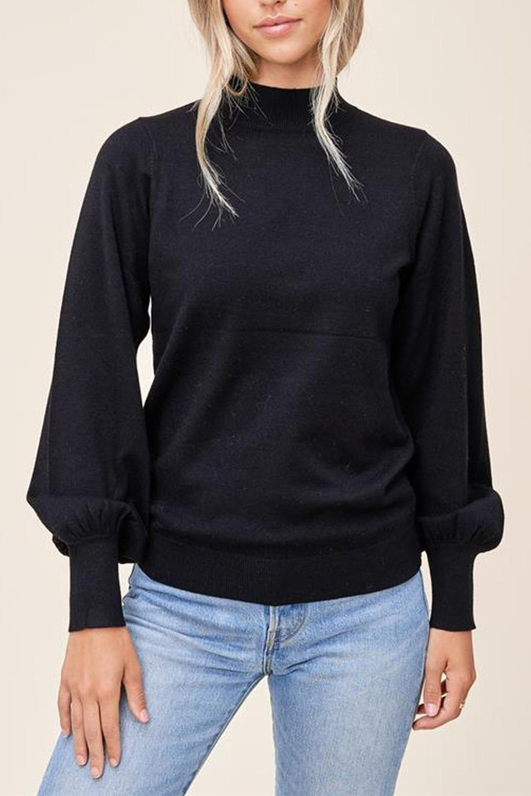 Staccato Mock Balloon-Sleeve Sweater - Front Full Image