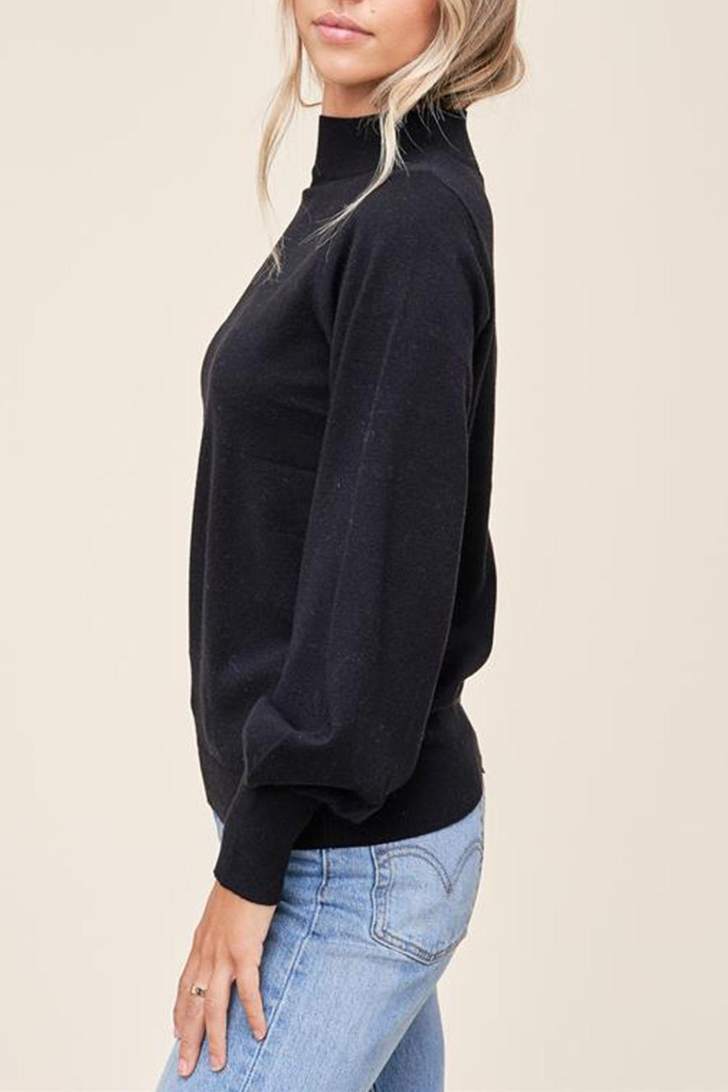Staccato Mock Balloon-Sleeve Sweater - Back Cropped Image