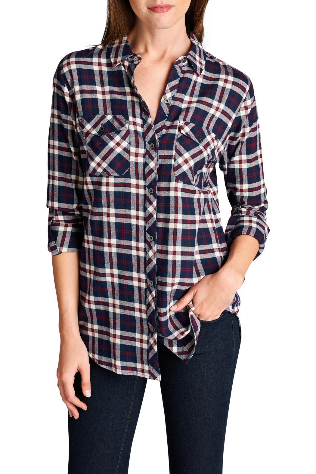 Staccato Navy Plaid Shirt From Texas By Minx Boutique