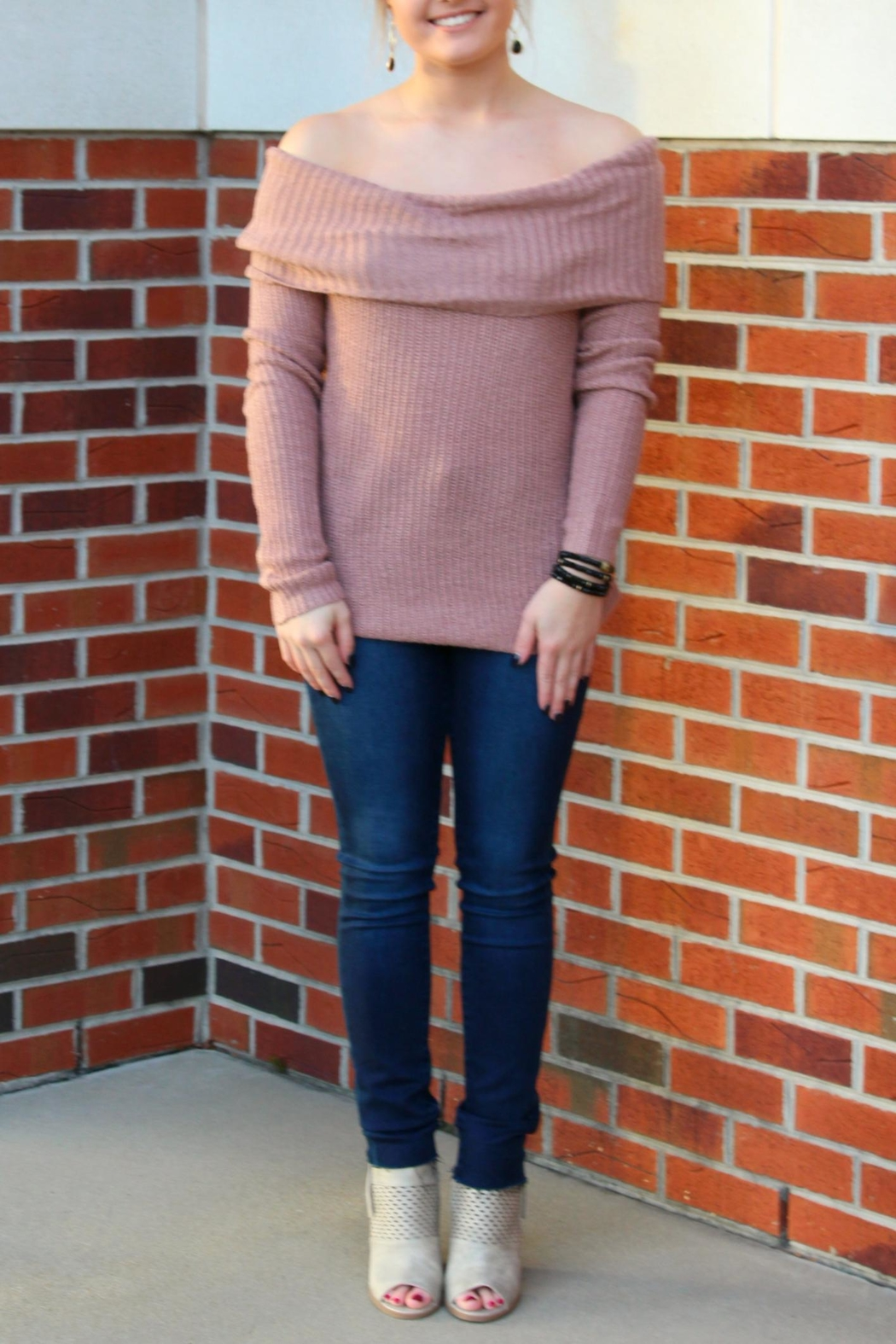 Staccato Off Shoulder Sweater - Main Image