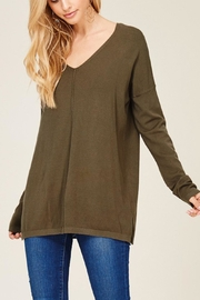 Staccato Olive V-Neck Knit - Product Mini Image