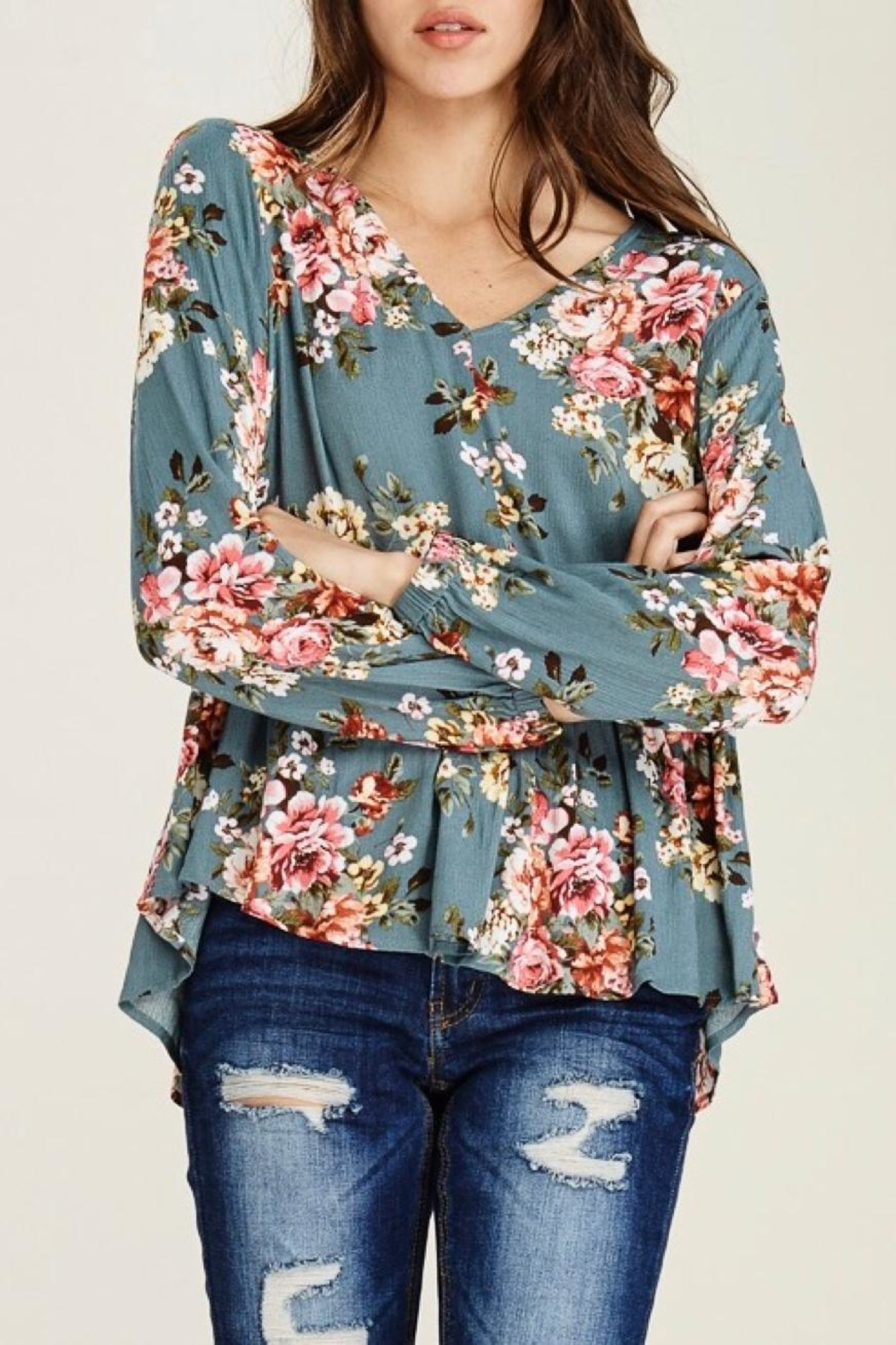 Staccato Peplum Floral Blouse - Side Cropped Image