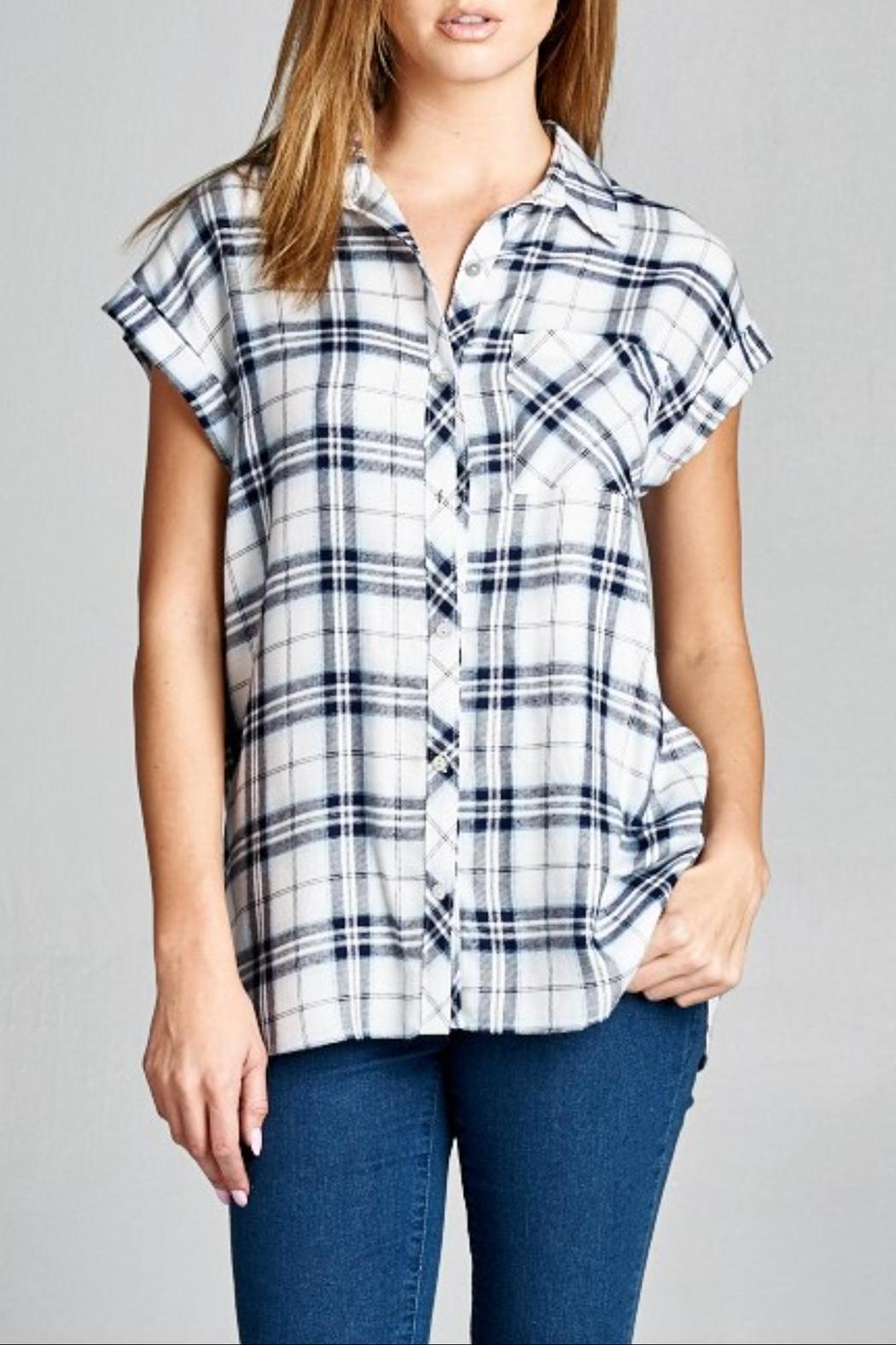 Staccato Plaid Pocket Top - Main Image