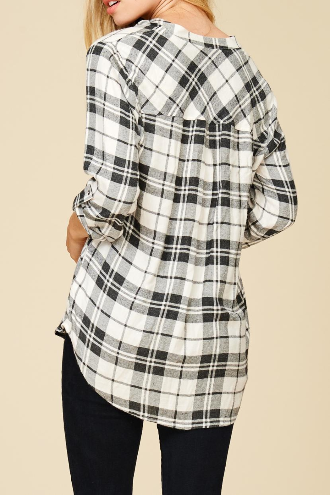 Staccato Plaid V Neck Flannel Top - Front Full Image