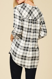 Staccato Plaid V Neck Flannel Top - Front full body