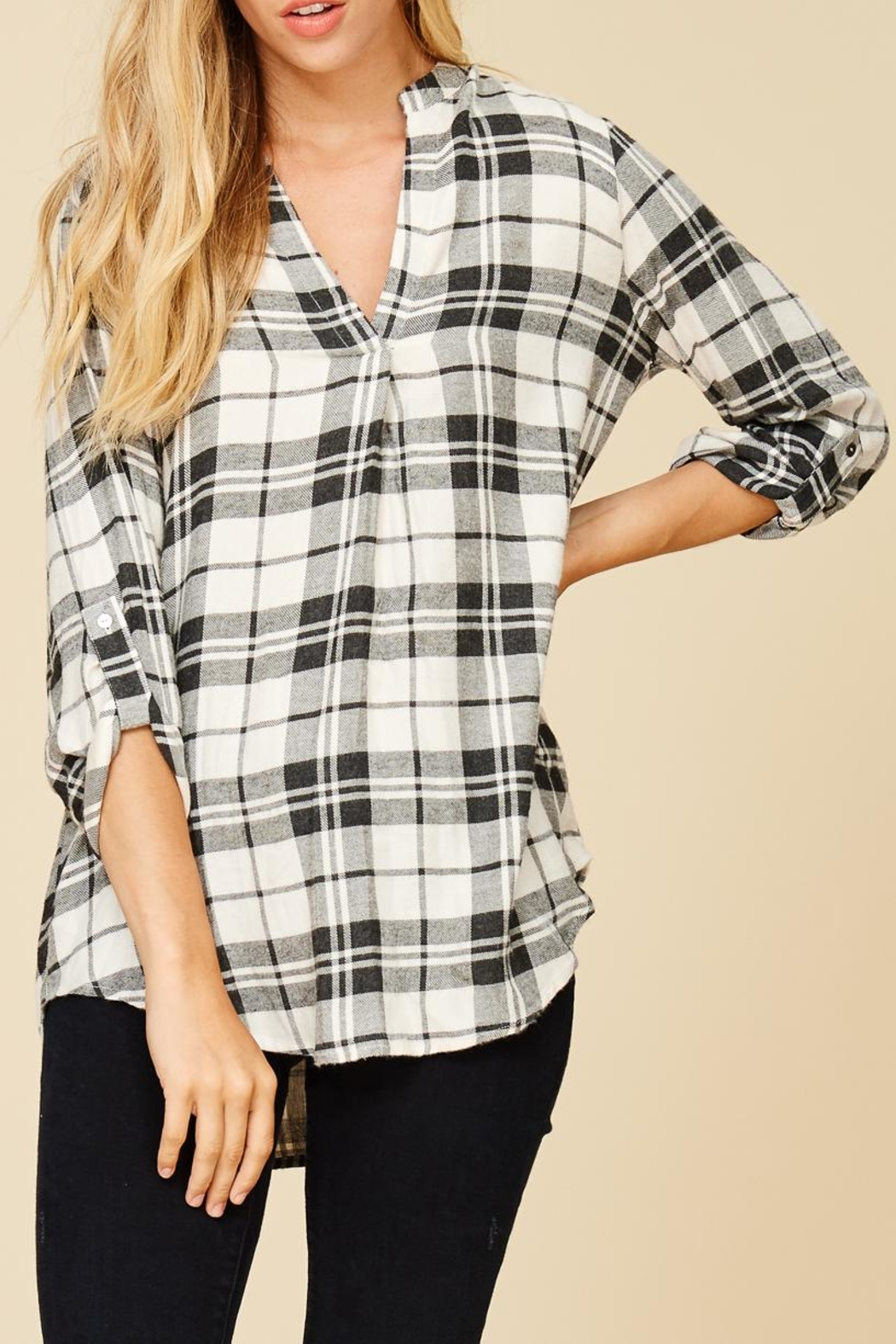 Staccato Plaid V Neck Flannel Top - Main Image