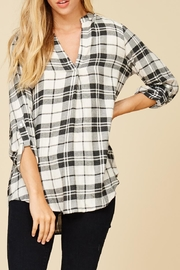 Staccato Plaid V Neck Flannel Top - Front cropped