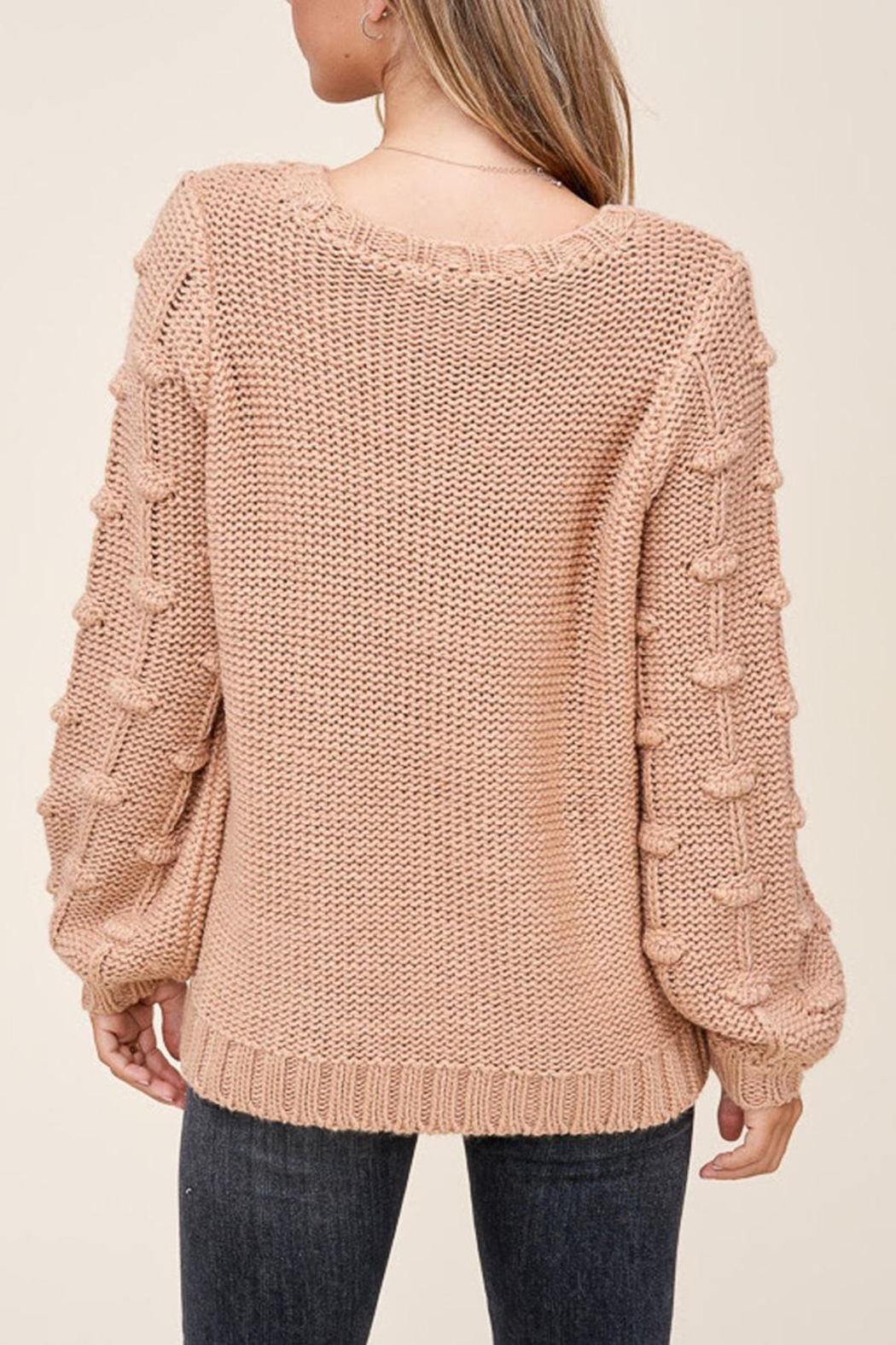 Staccato Pom Sleeve Sweater - Side Cropped Image