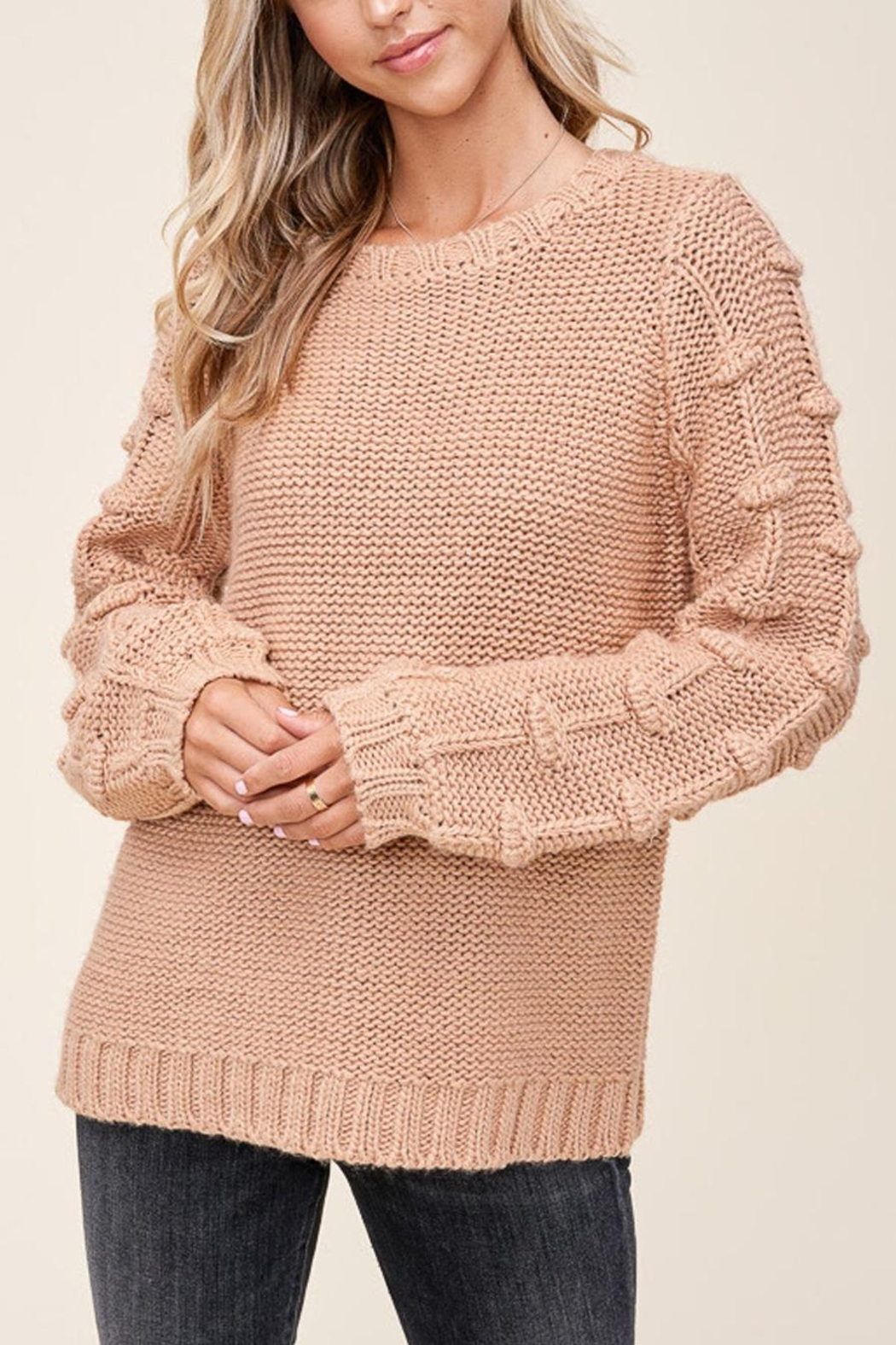 Staccato Pom Sleeve Sweater - Back Cropped Image