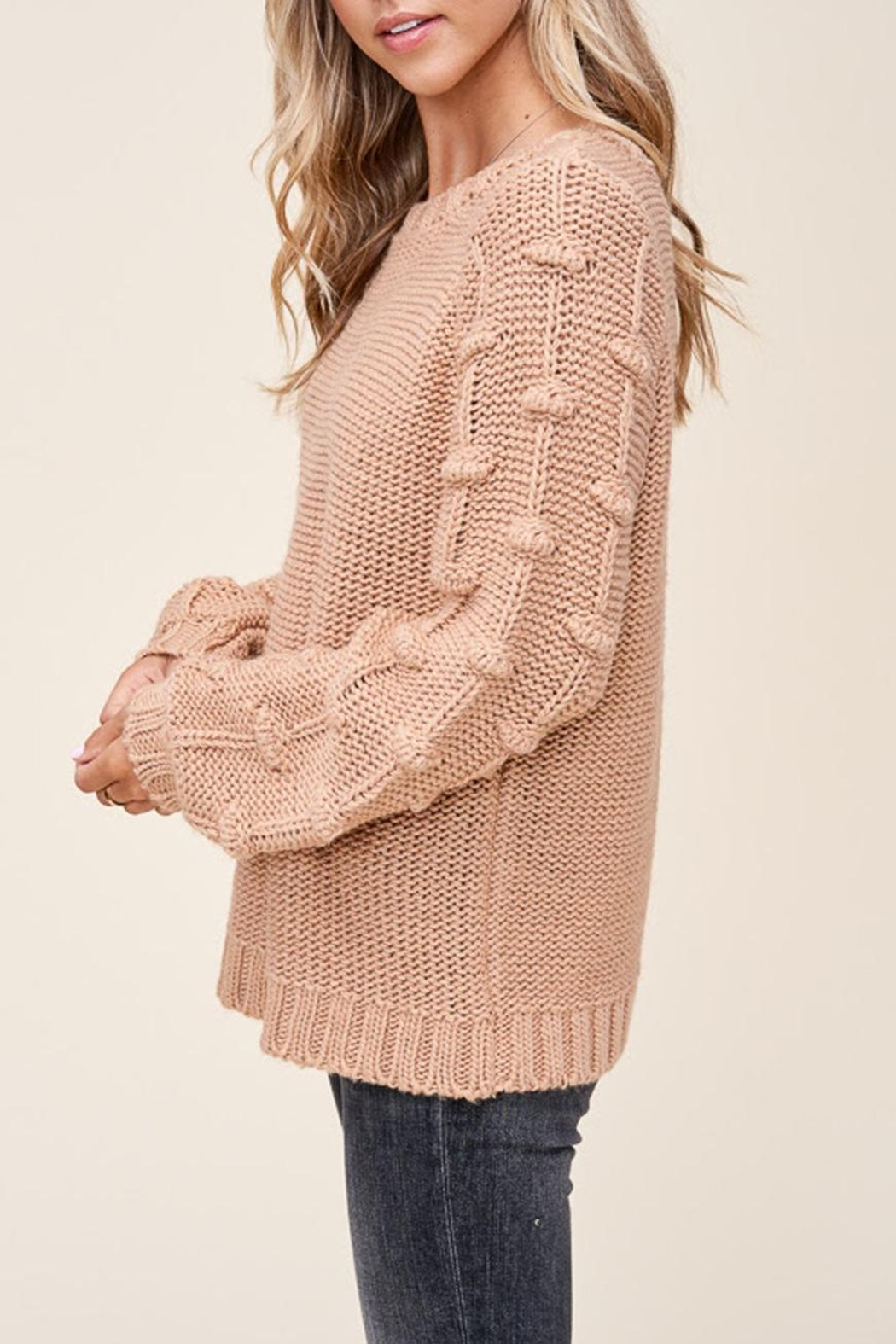 Staccato Pom Sleeve Sweater - Front Full Image