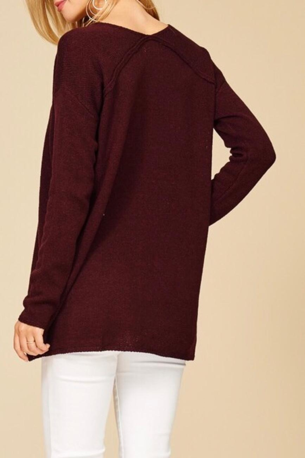 Staccato Pullover Texture Sweater - Back Cropped Image