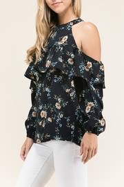 Staccato Ruffle Cold Shoulder Top - Product Mini Image