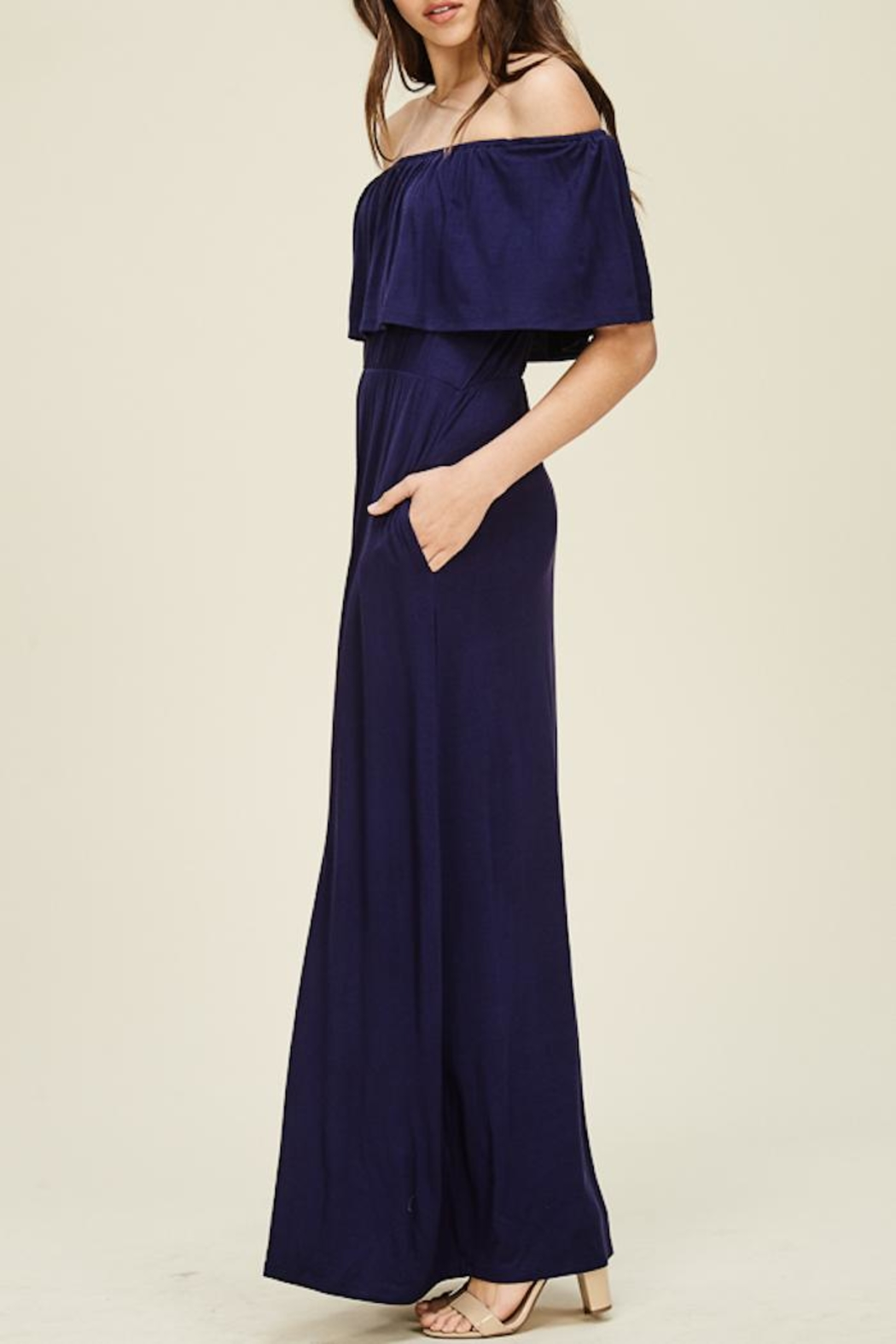 Staccato Ruffle Maxi Dress - Front Full Image