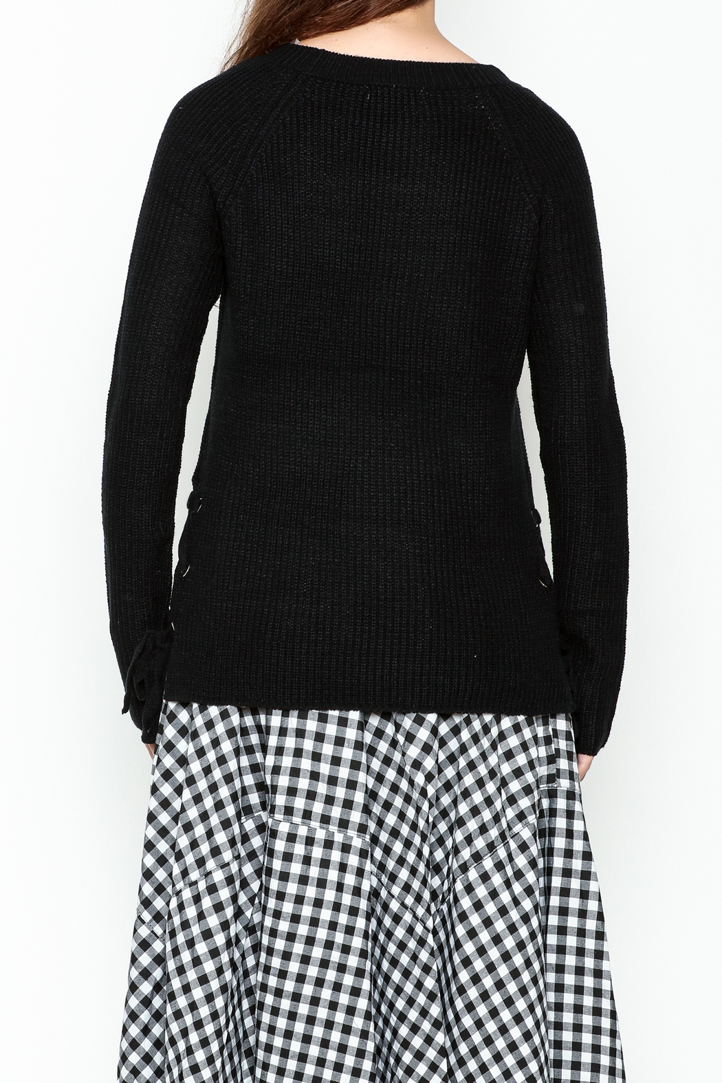 Staccato Knit Crew Sweater - Back Cropped Image
