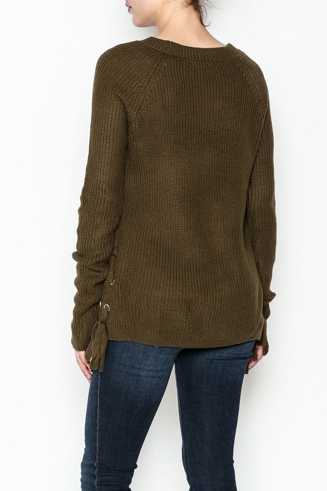 Staccato Side Lace Sweater - Back Cropped Image