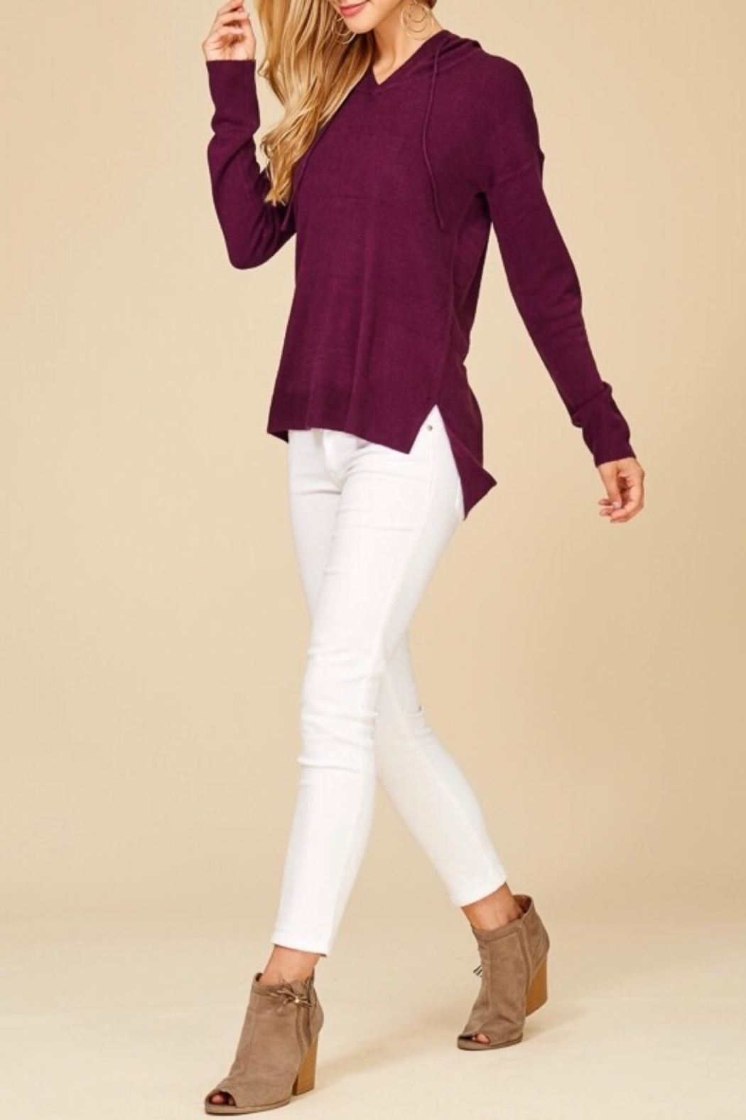 Staccato Soft Hooded Sweater - Back Cropped Image
