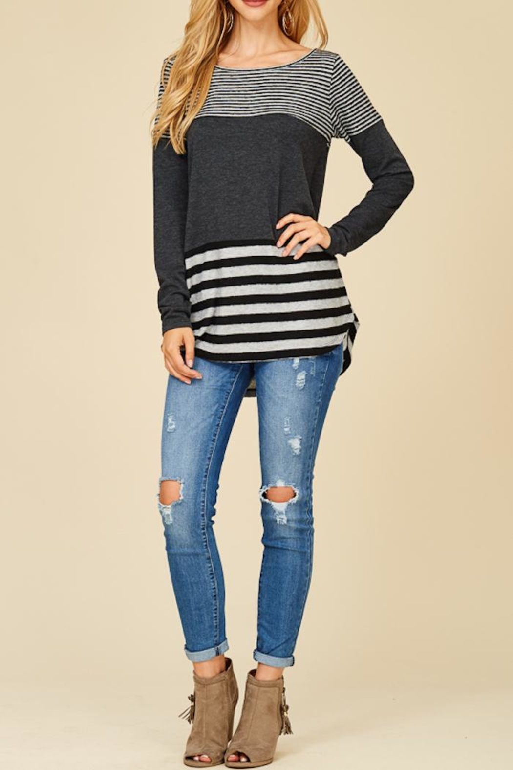 Staccato Solid And Stripe Top - Main Image
