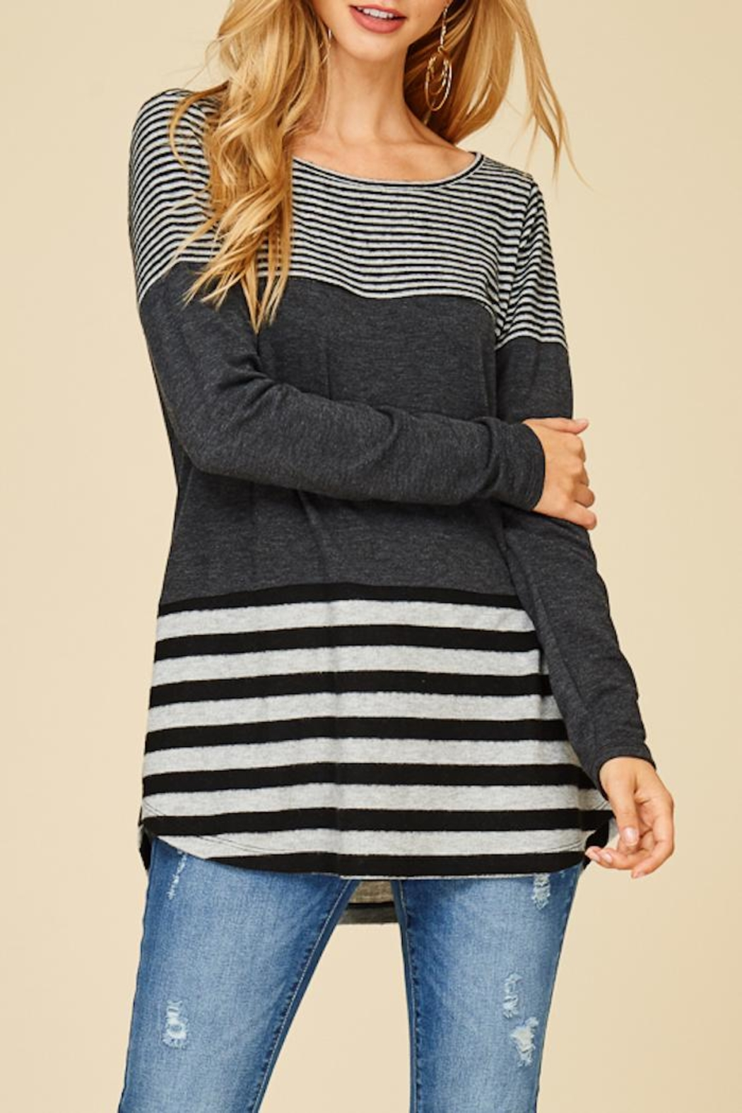 Staccato Solid And Stripe Top - Side Cropped Image
