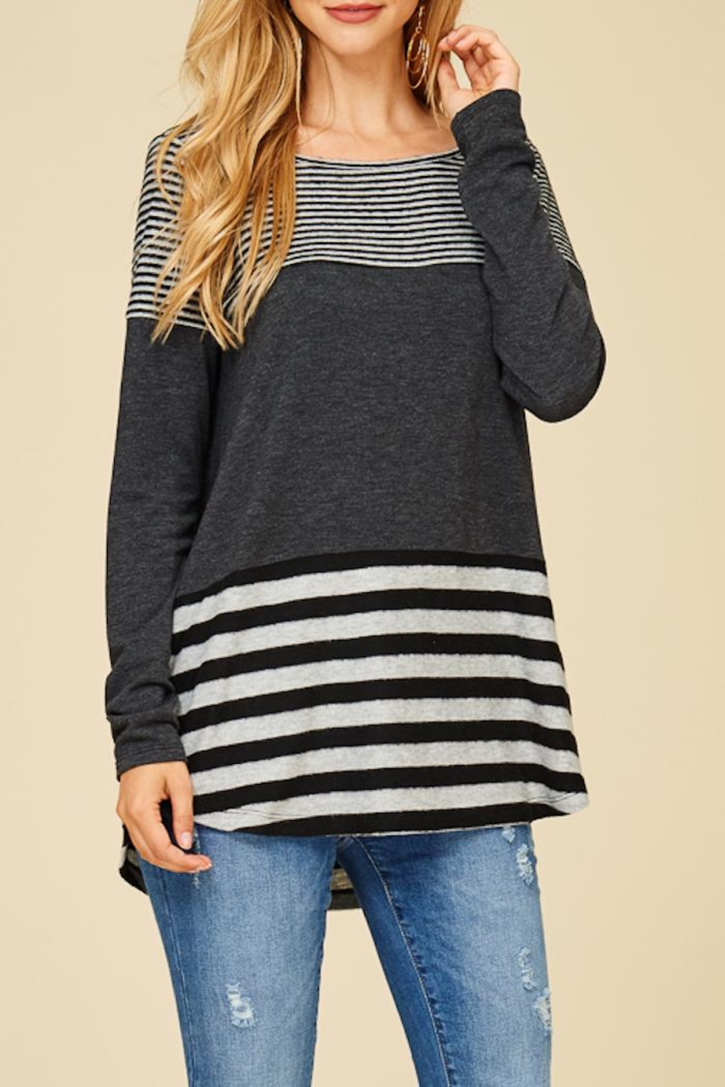 Staccato Solid And Stripe Top - Front Full Image