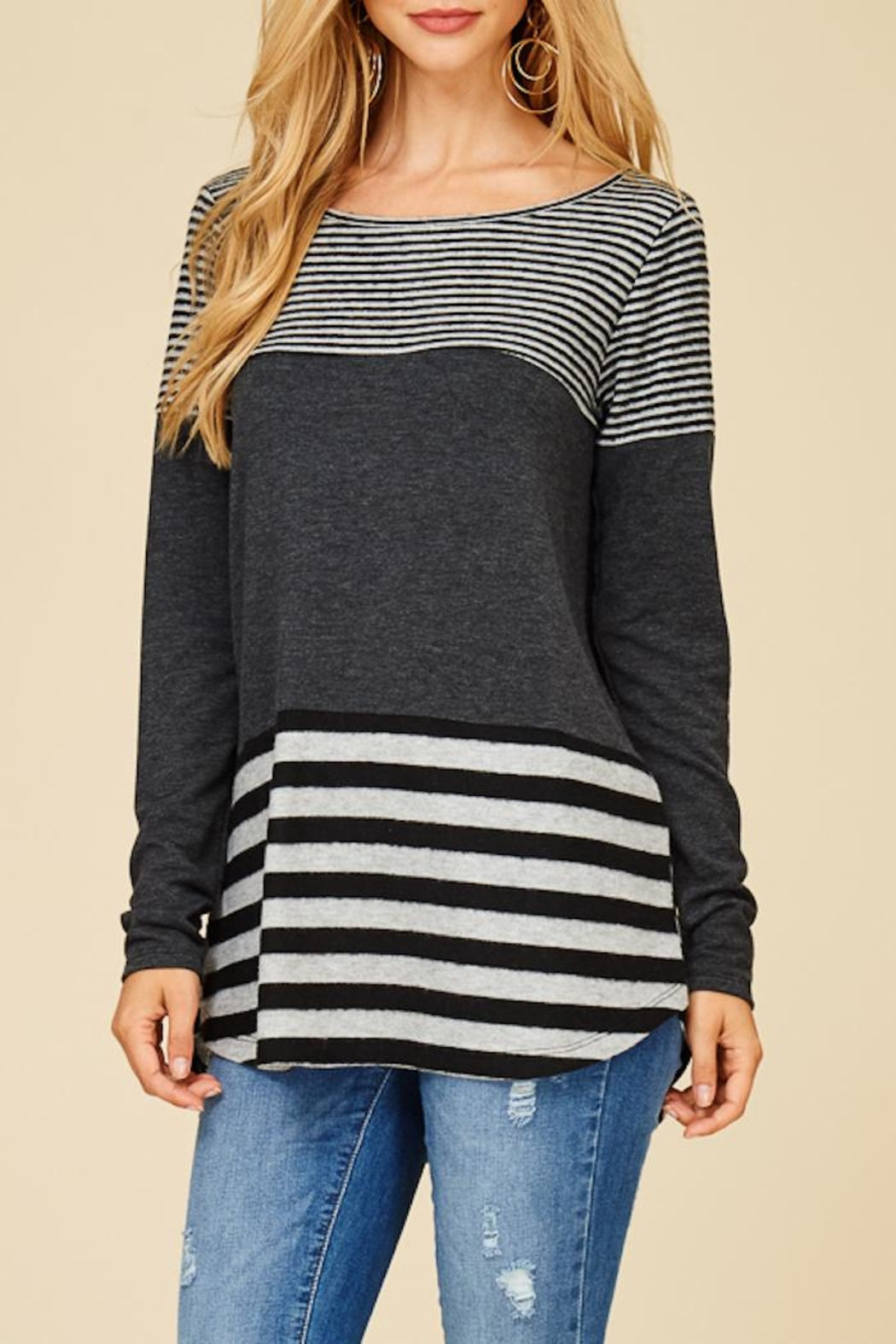 Staccato Solid And Stripe Top - Back Cropped Image