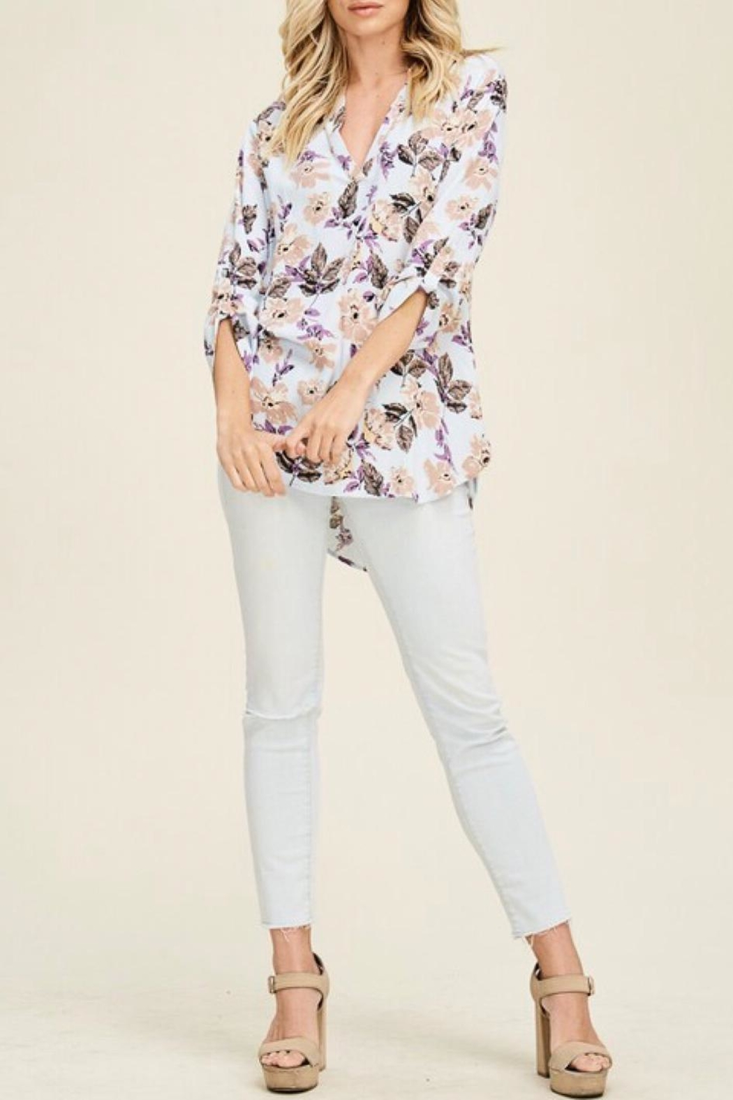 Staccato Split-Neck Floral Top - Back Cropped Image