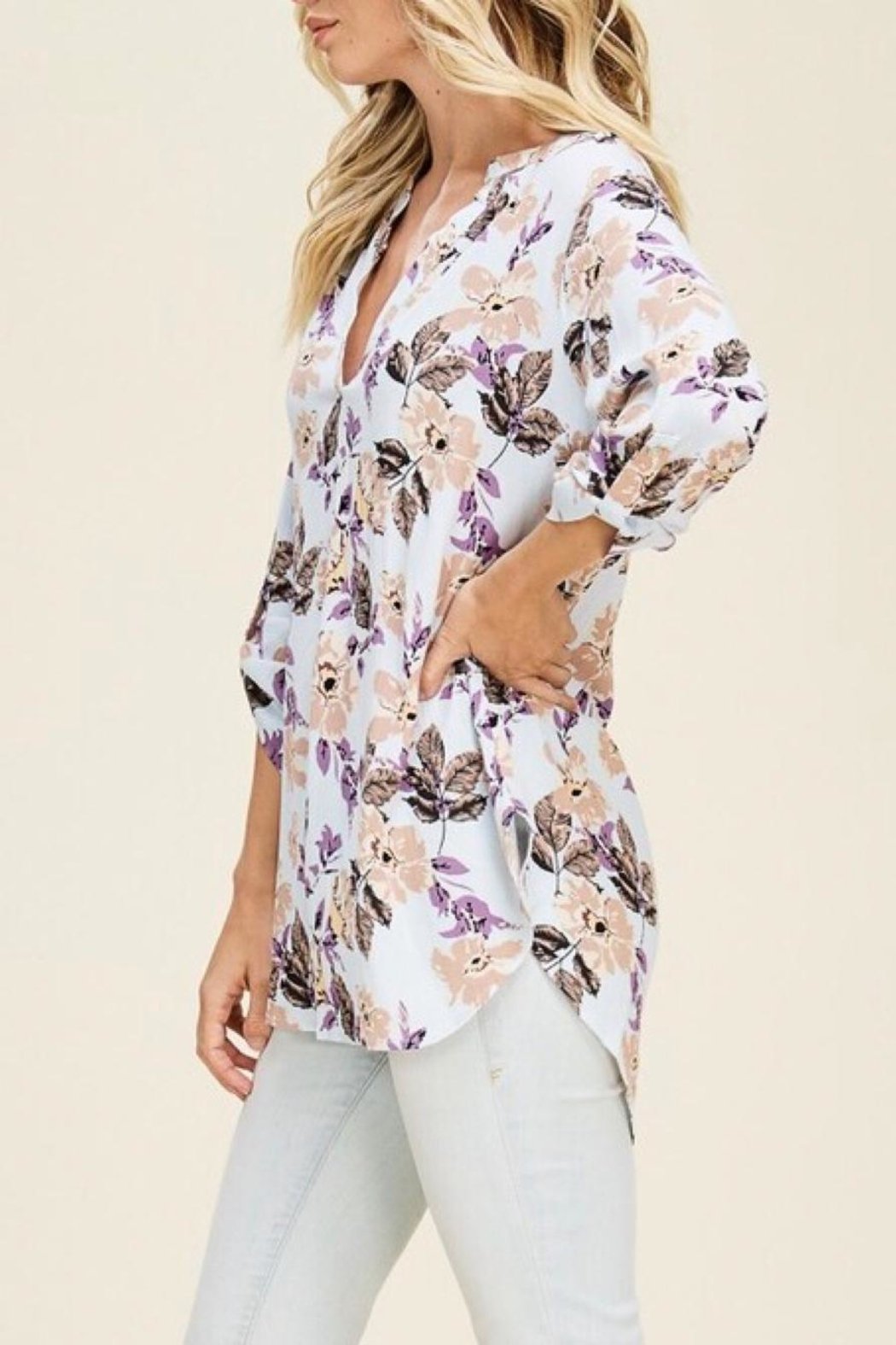 Staccato Split-Neck Floral Top - Front Full Image