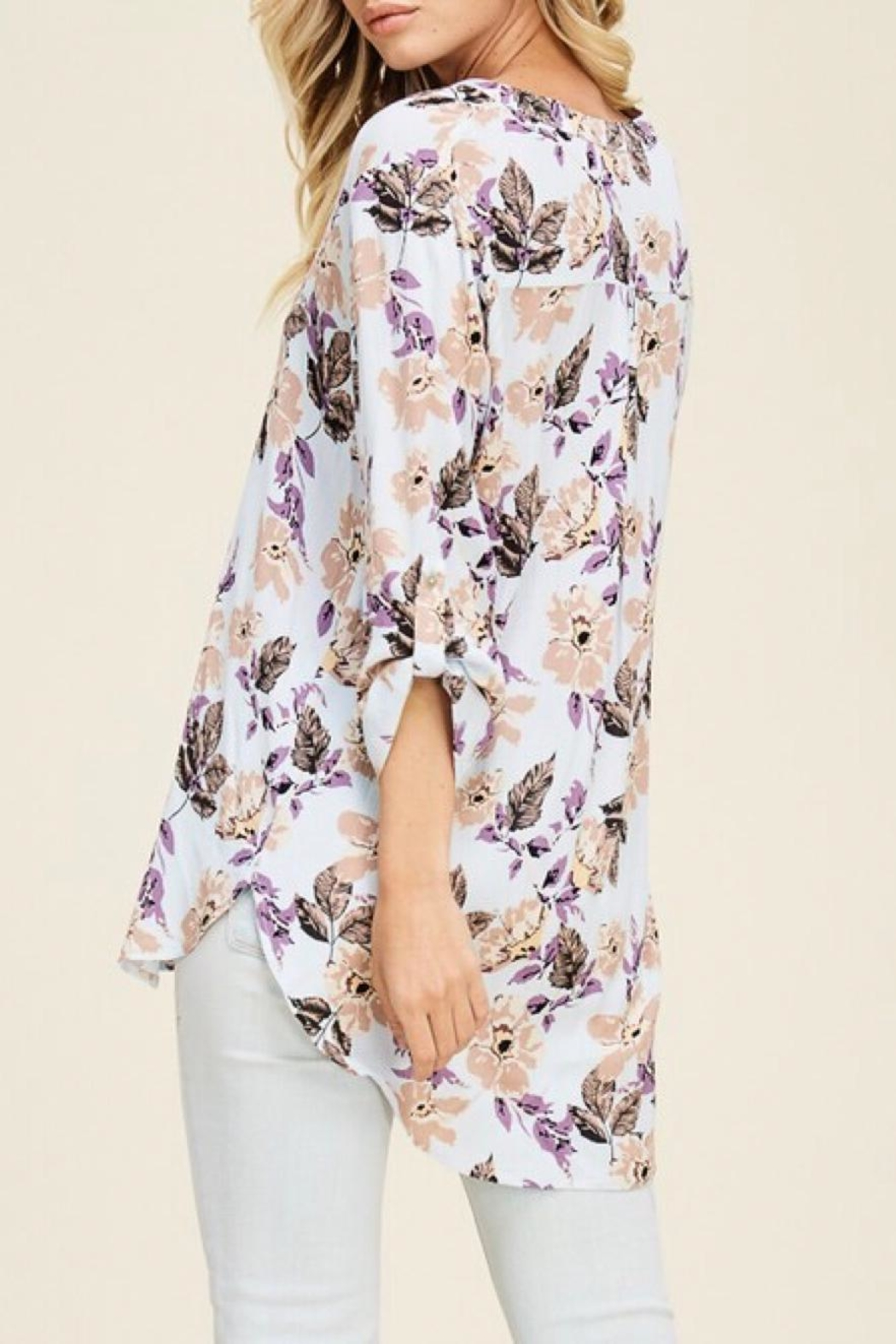 Staccato Split-Neck Floral Top - Side Cropped Image