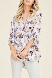 Staccato Split-Neck Floral Top - Front cropped
