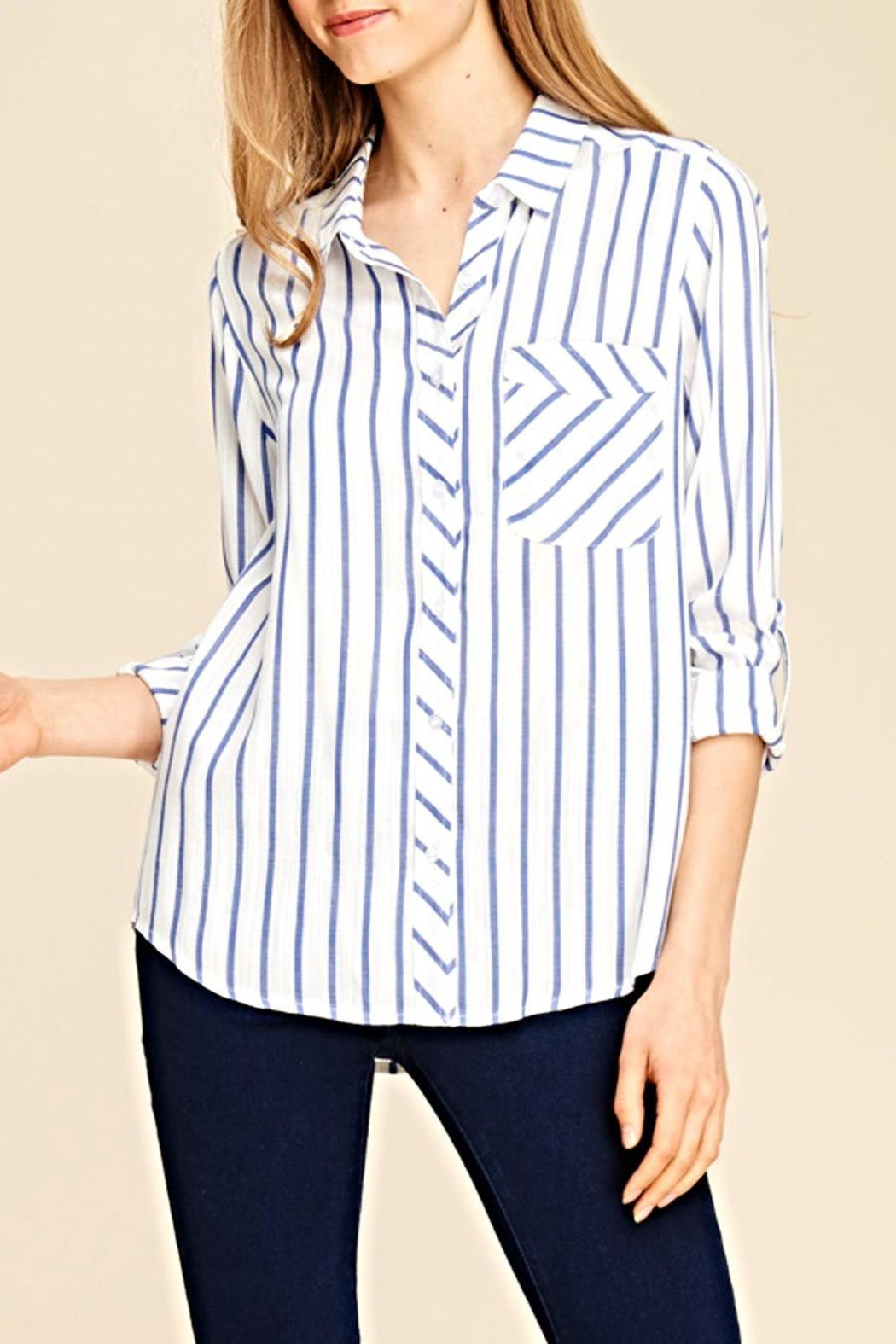 Staccato Stripe Pocket Blouse - Main Image