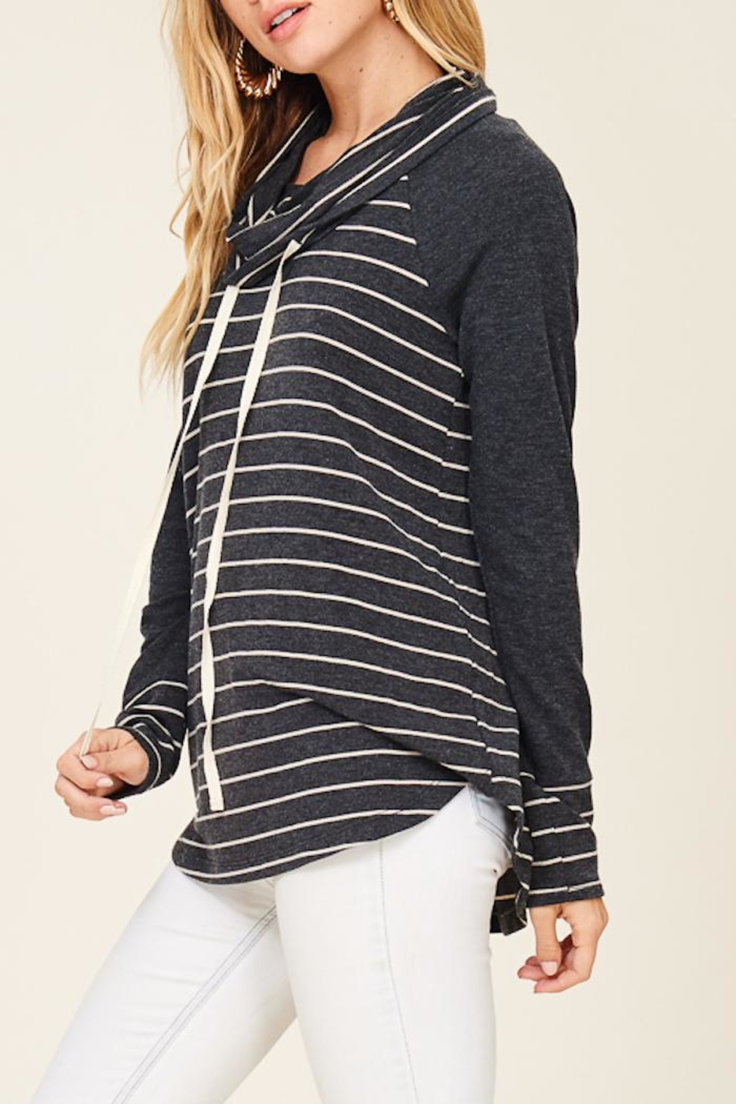 Staccato Striped Cowl Neck - Back Cropped Image