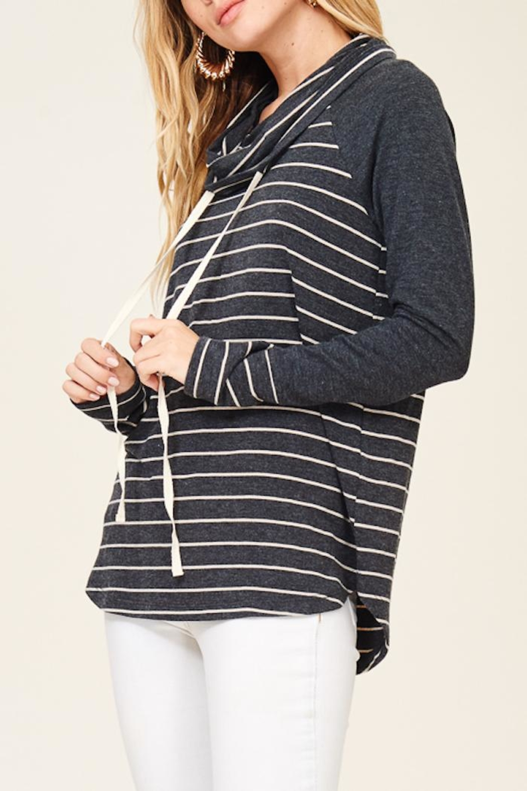Staccato Striped Cowl Neck - Side Cropped Image