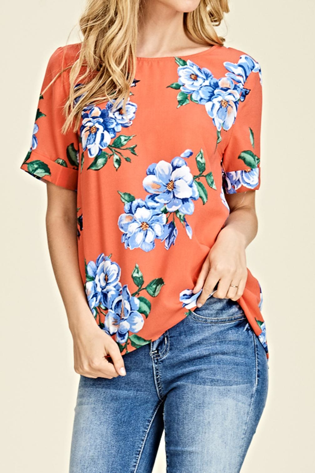 Staccato Summer Floral Blouse - Front Cropped Image
