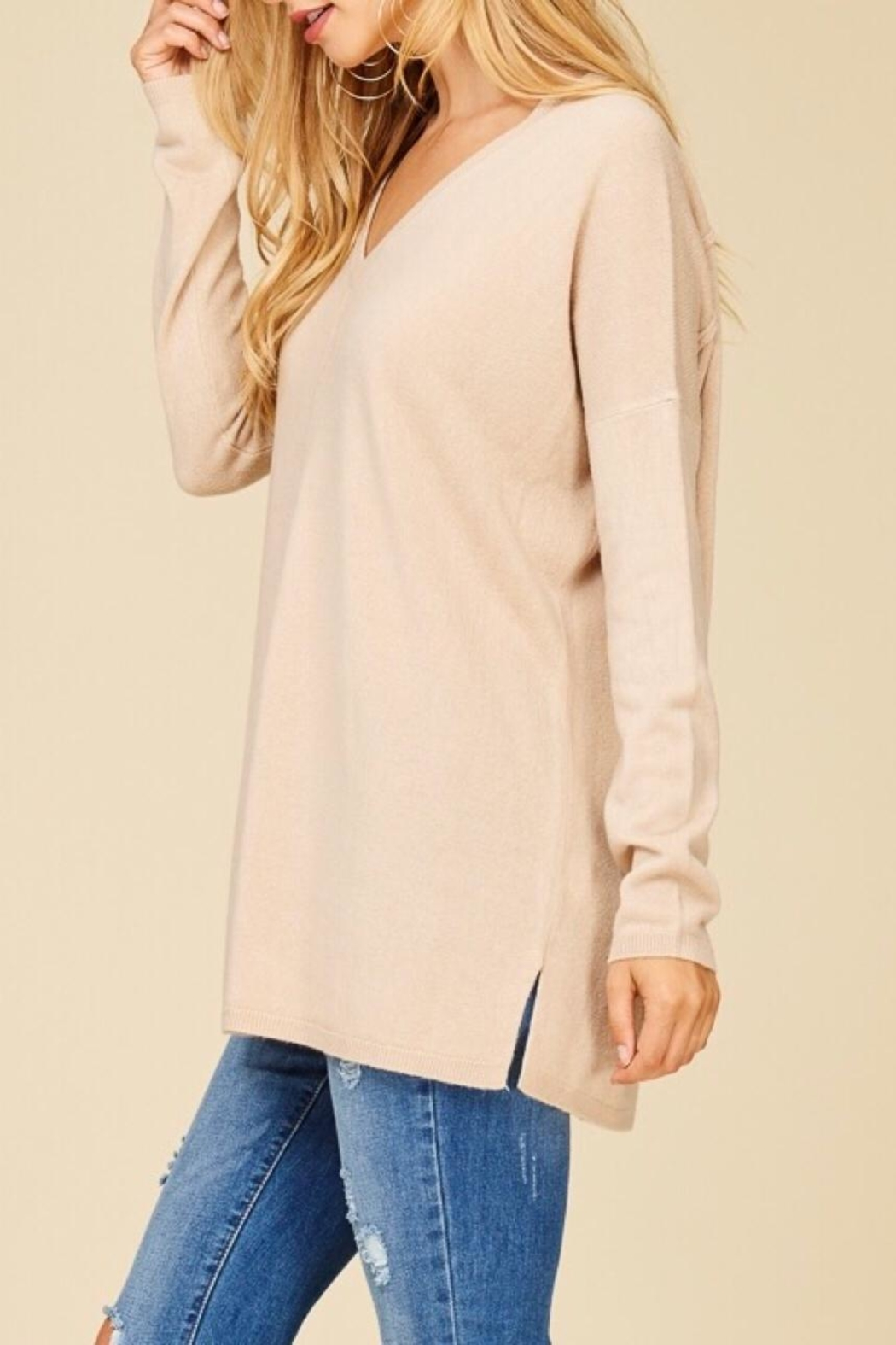 Staccato Taupe V-Neck Sweater - Front Full Image