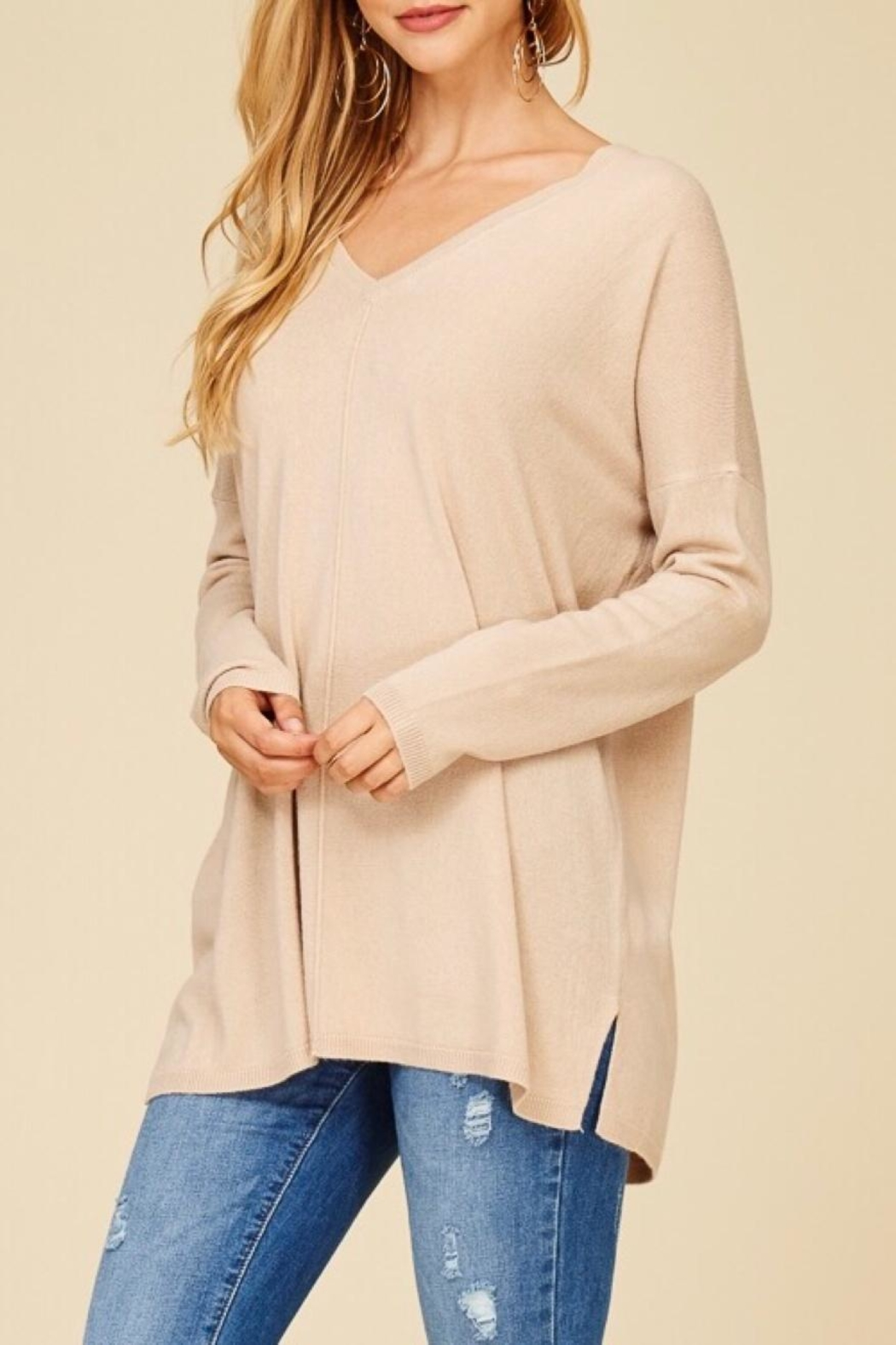 Staccato Taupe V-Neck Sweater - Side Cropped Image