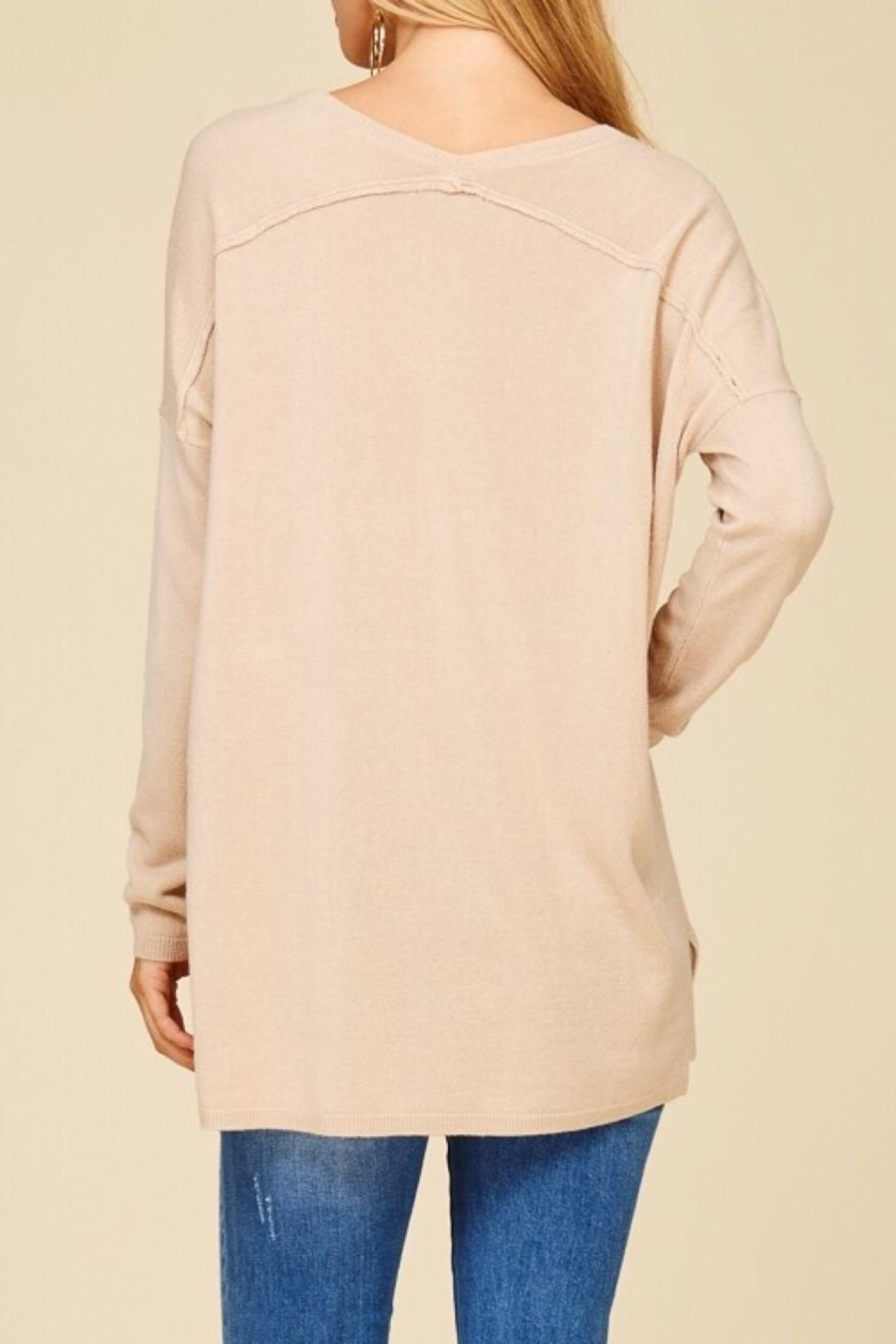 Staccato Taupe V-Neck Sweater - Back Cropped Image